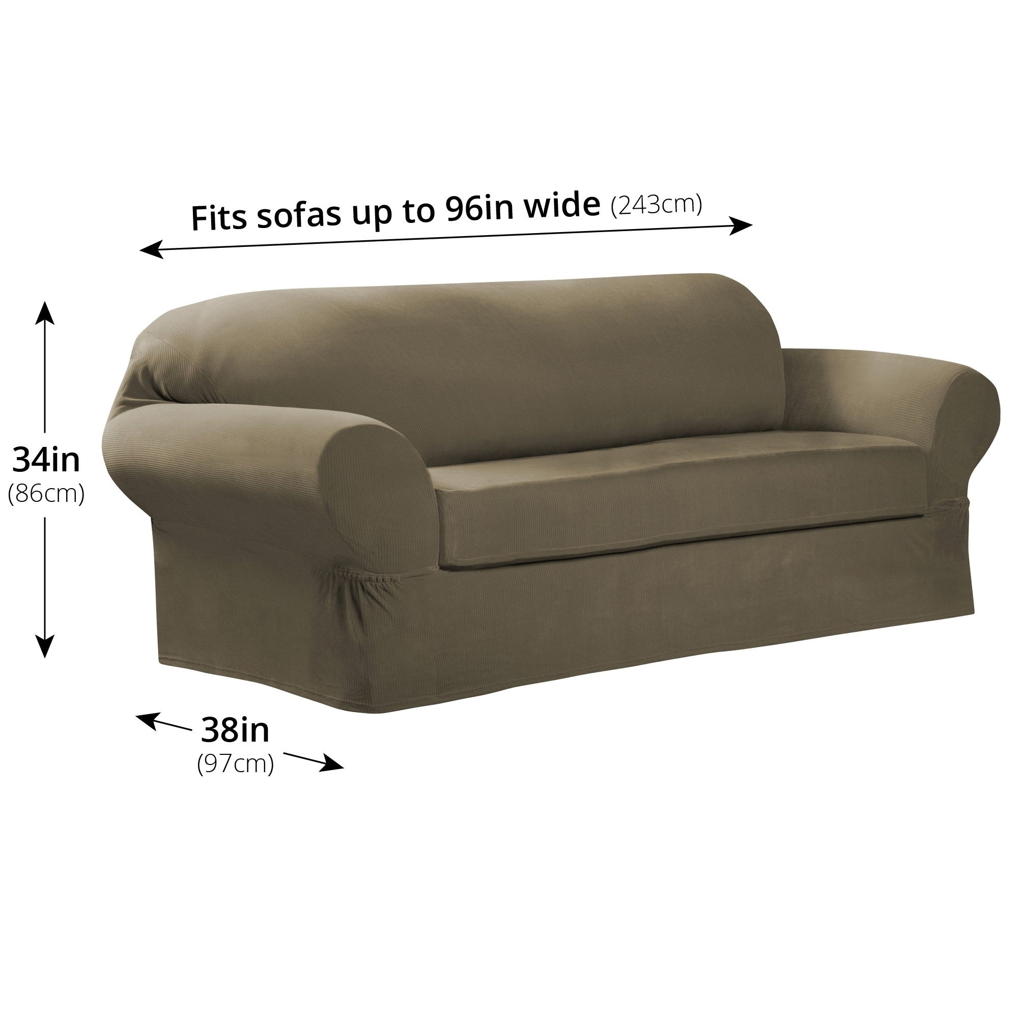Maytex Collin 2 Piece Sofa Slipcover 74 96 Wide 34 High 38 Deep Free Shipping Today 4129079
