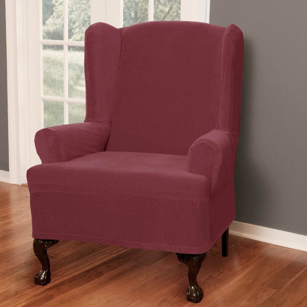 Shop Maytex Collin Wing Chair Slipcover   On Sale   Free Shipping Today    Overstock.com   4129080