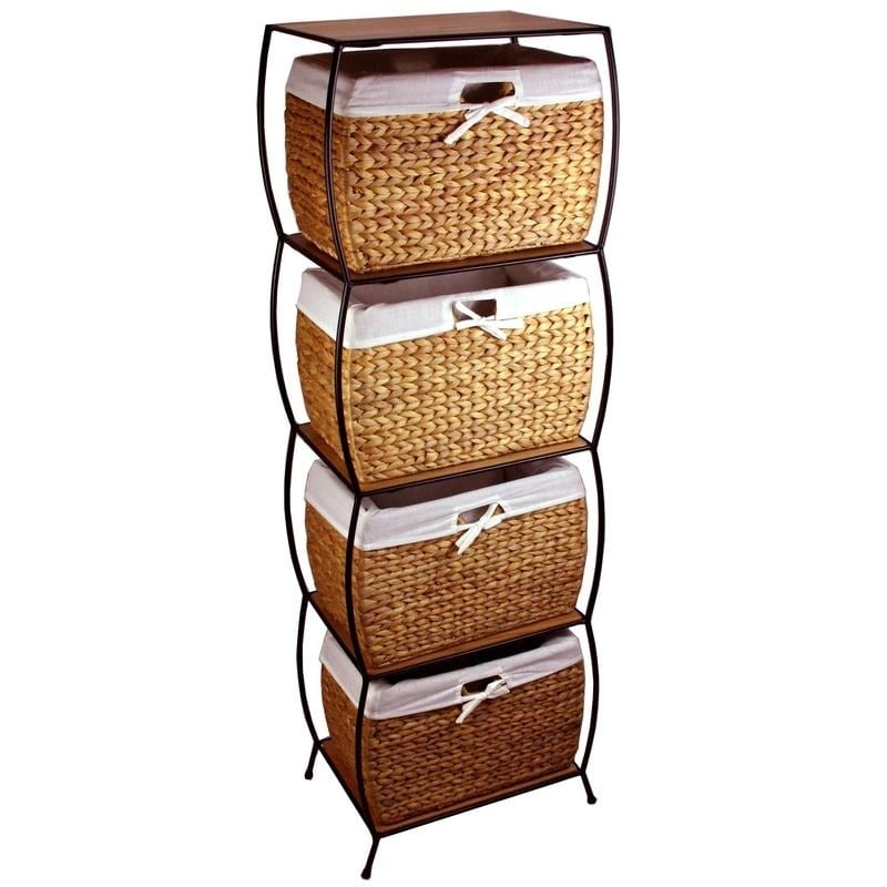 Rattan 4 Drawer File Cabinet