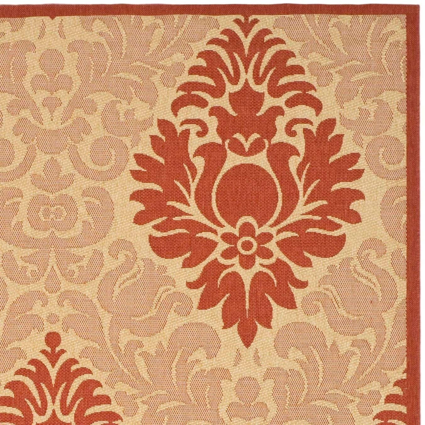 Shop Safavieh St. Barts Damask Natural/ Red Indoor/ Outdoor Rug - 8' X 11' - On Sale - Free Shipping Today - Overstock - 4138279