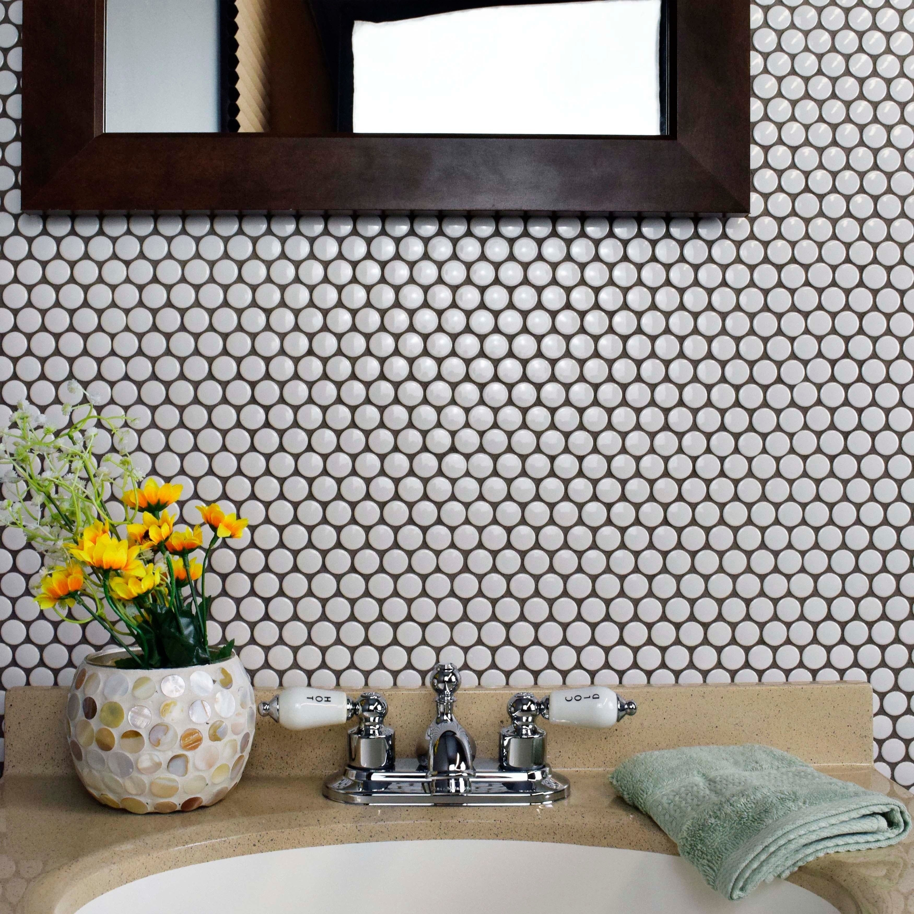 SomerTile 11.5x11.5-in Victorian Penny 3/4-in White Porcelain Mosaic Tile  (Pack of 10) - Free Shipping Today - Overstock.com - 12185957