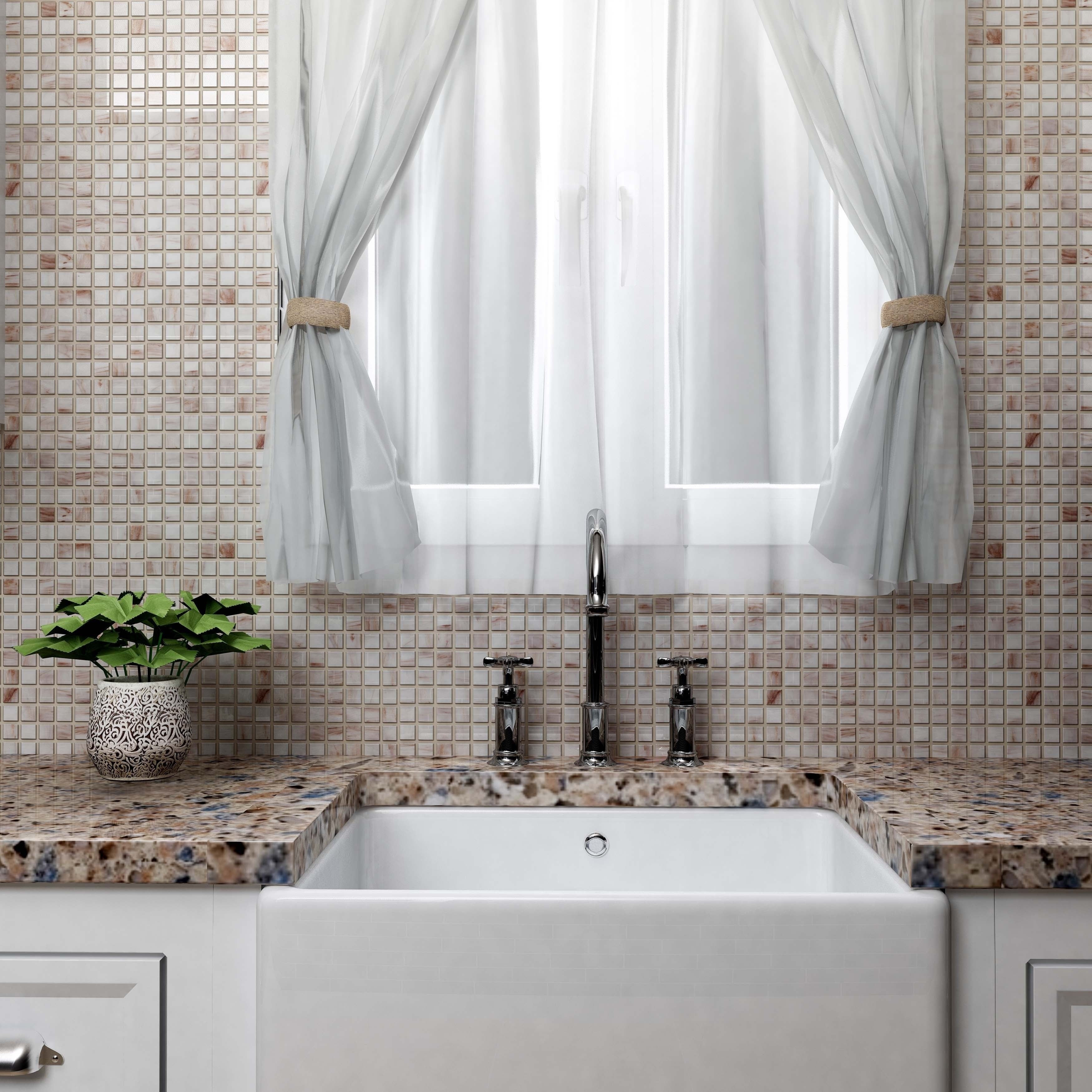 Shop SomerTile 12x12-inch Cuivre Bronze White Glass Mosaic Wall Tile ...