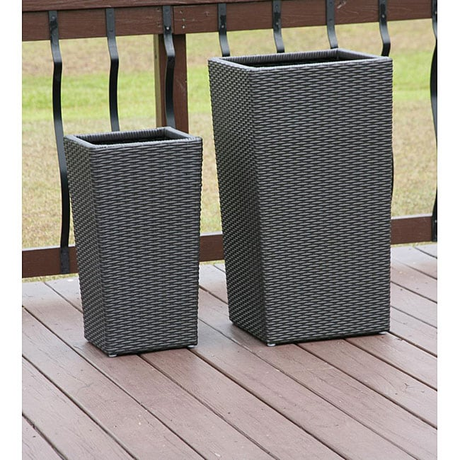 Shop All Weather Resin Wicker Flower Pot Planters Set Of 2 Free