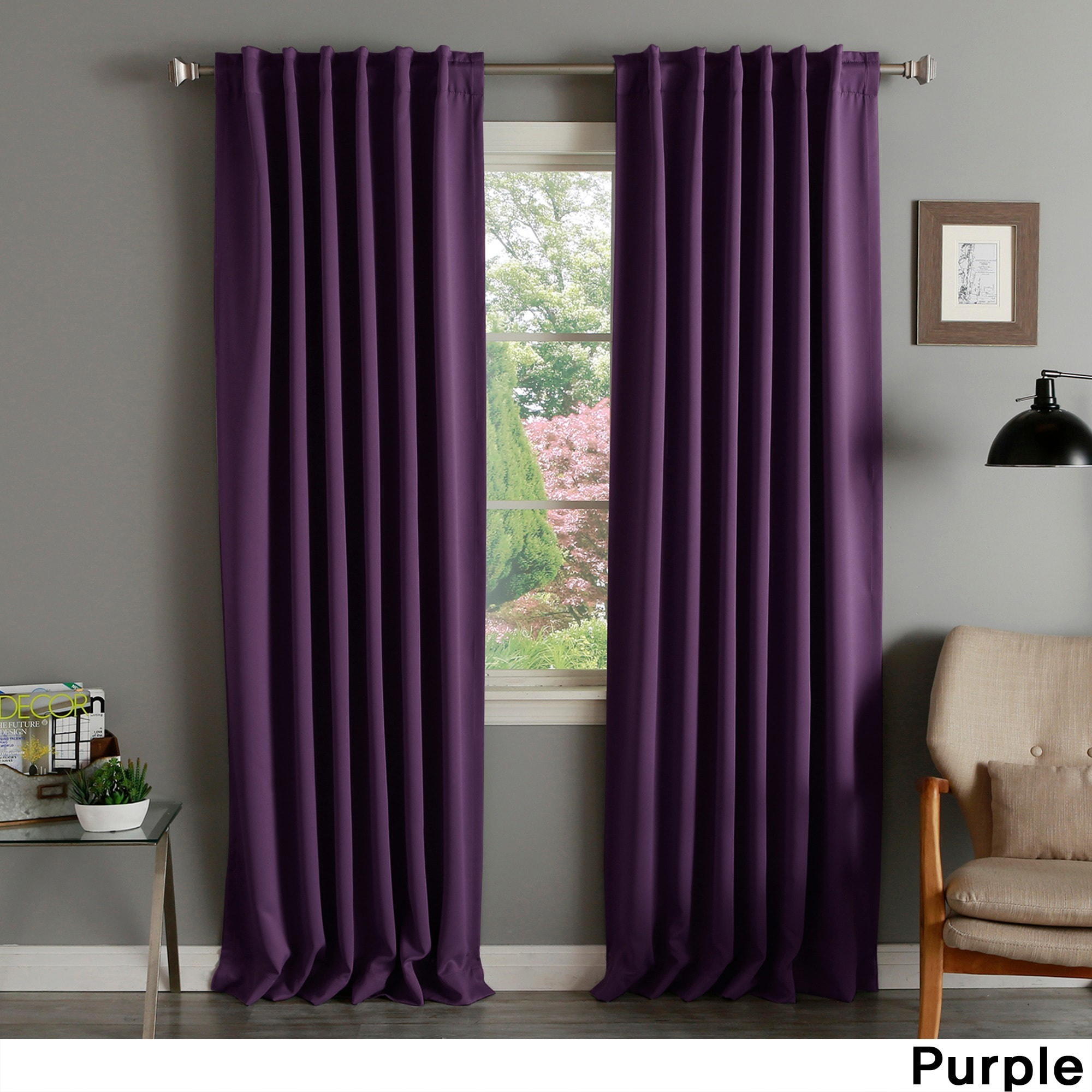 Shop Aurora Home Solid Thermal Insulated 108 Inch Blackout Curtain Panel Pair