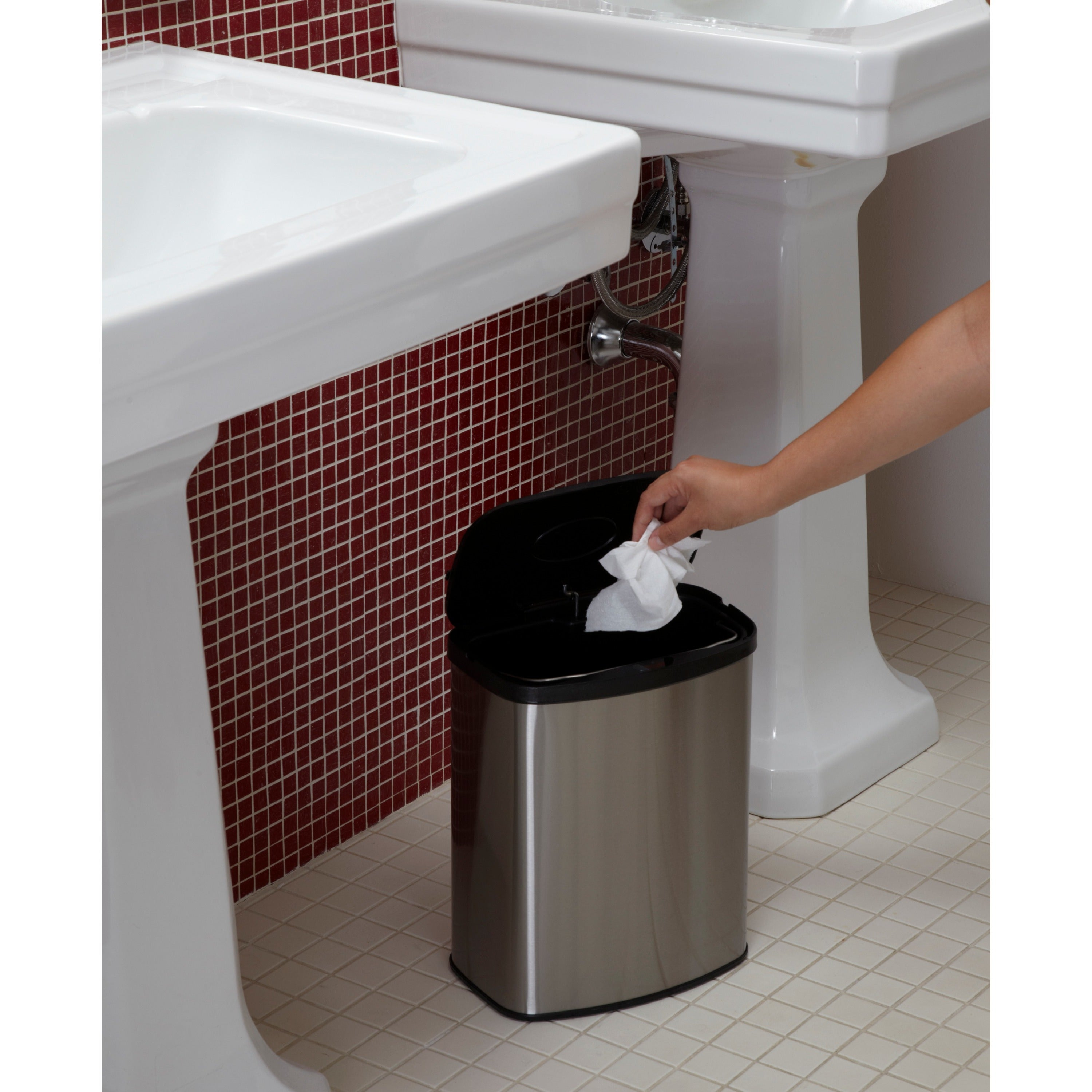 Motion Sensor Stainless Steel 2 In 1 Combo Bathroom/ Kitchen Trash Can Set    Free Shipping Today   Overstock   12219537