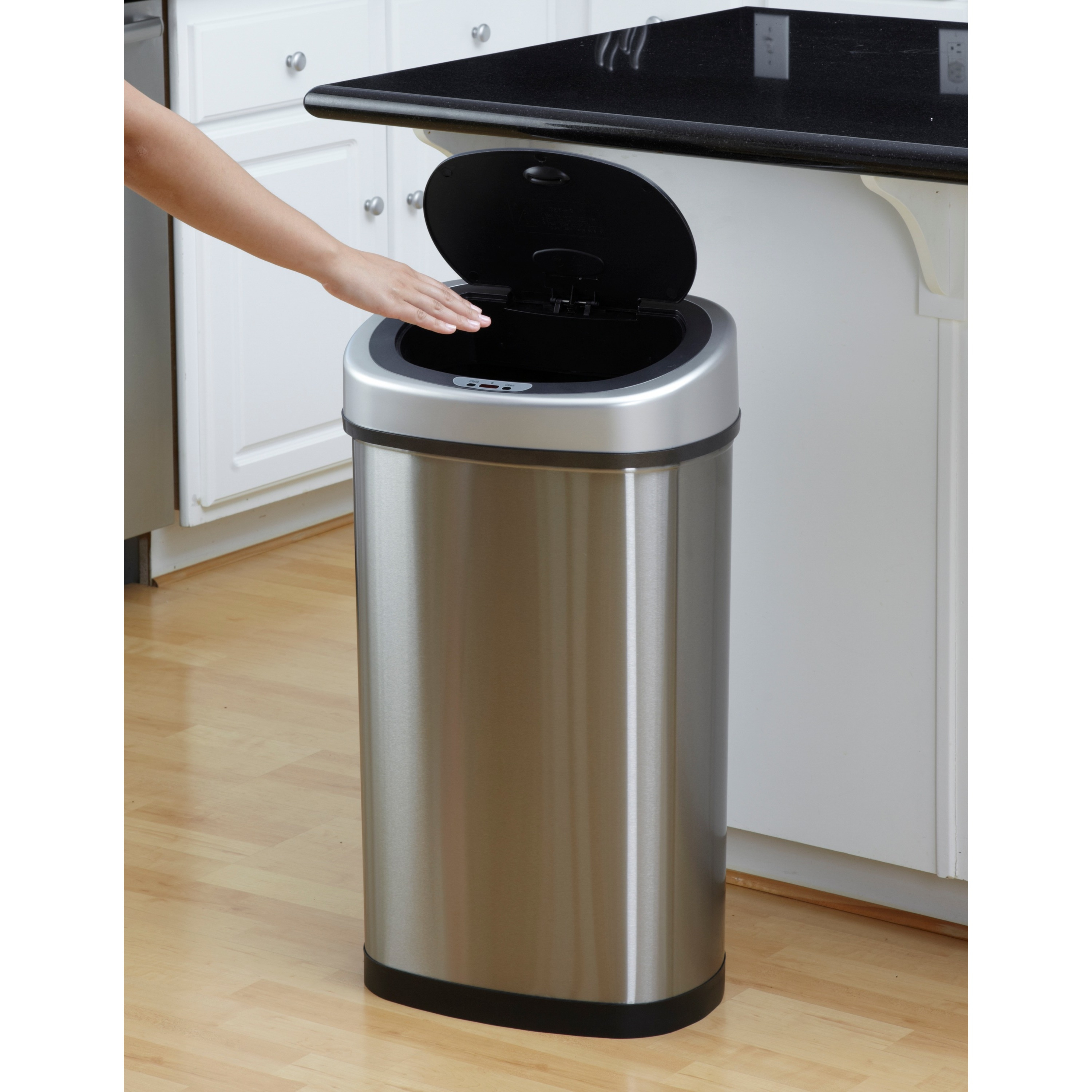 Perfect Motion Sensor Stainless Steel 2 In 1 Combo Bathroom/ Kitchen Trash Can Set    Free Shipping Today   Overstock   12219537