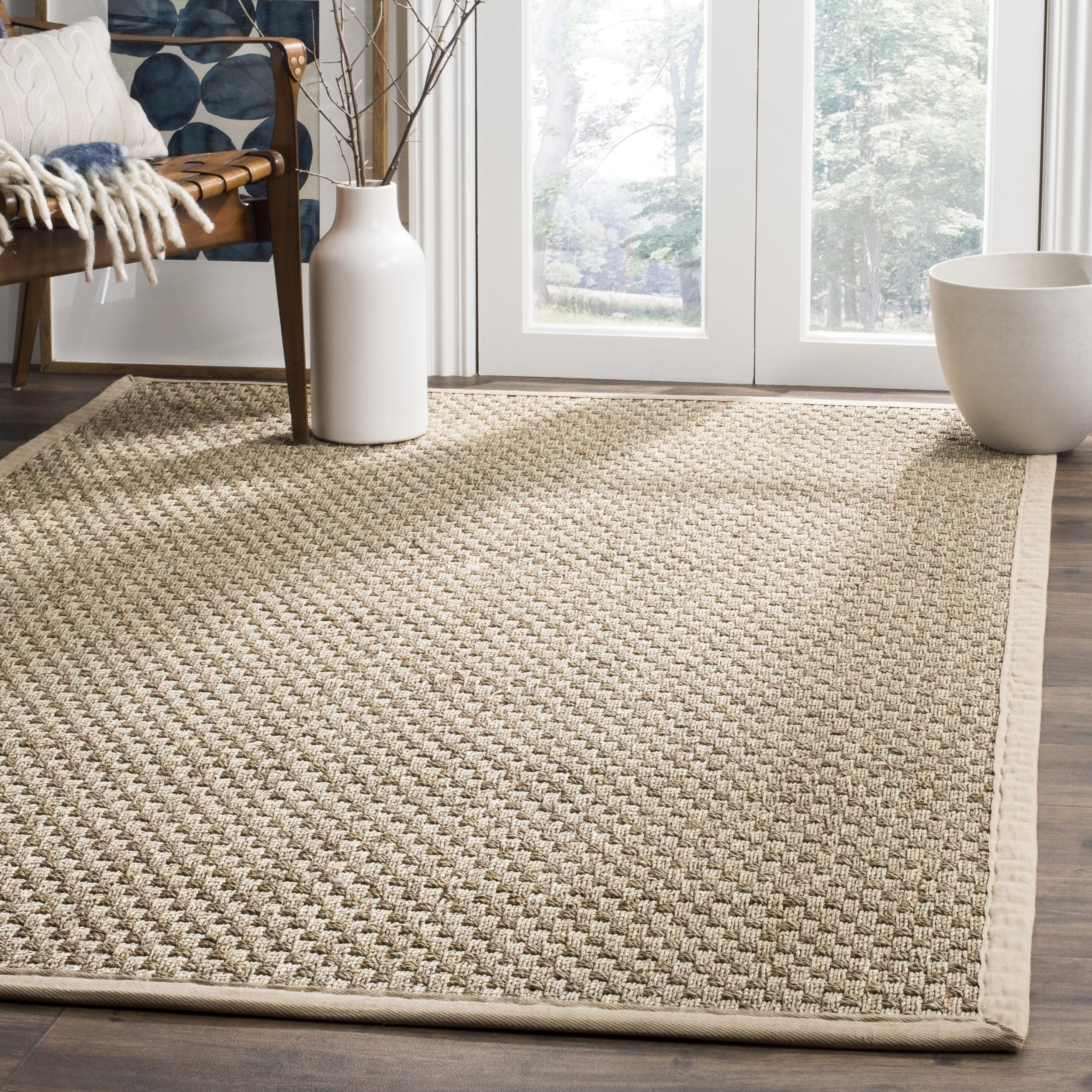 Shop Safavieh Casual Natural Fiber Natural and Beige Border Seagrass ...