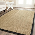 Safavieh Casual Natural Fiber Hand-Woven Sisal Natural / Black Seagrass Rug (3' x 5')