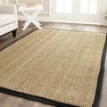 Safavieh Casual Natural Fiber Hand-Woven Sisal Natural / Black Seagrass Rug (8' x 10')