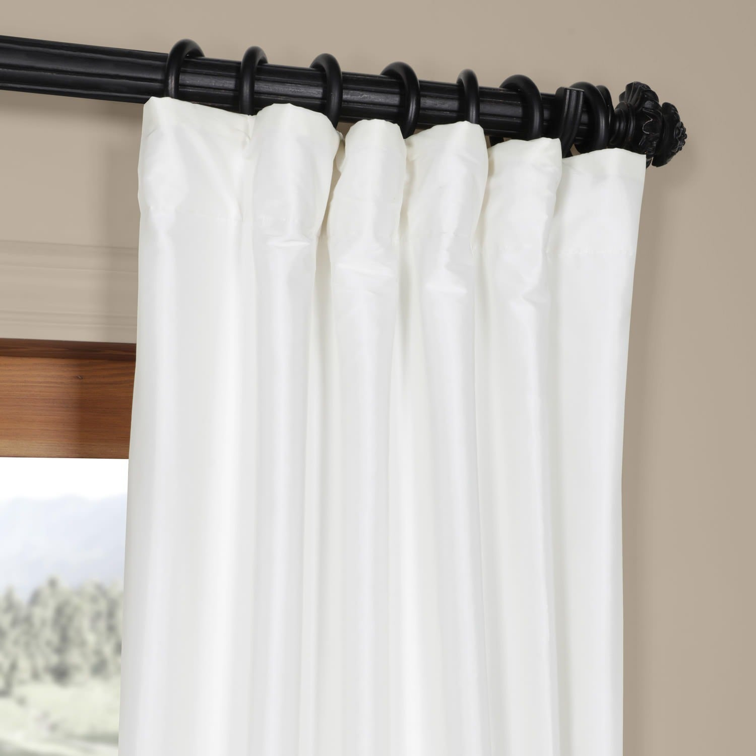 Exclusive Fabrics Signature White Faux Silk Curtain Panel On Free Shipping Today 4257403
