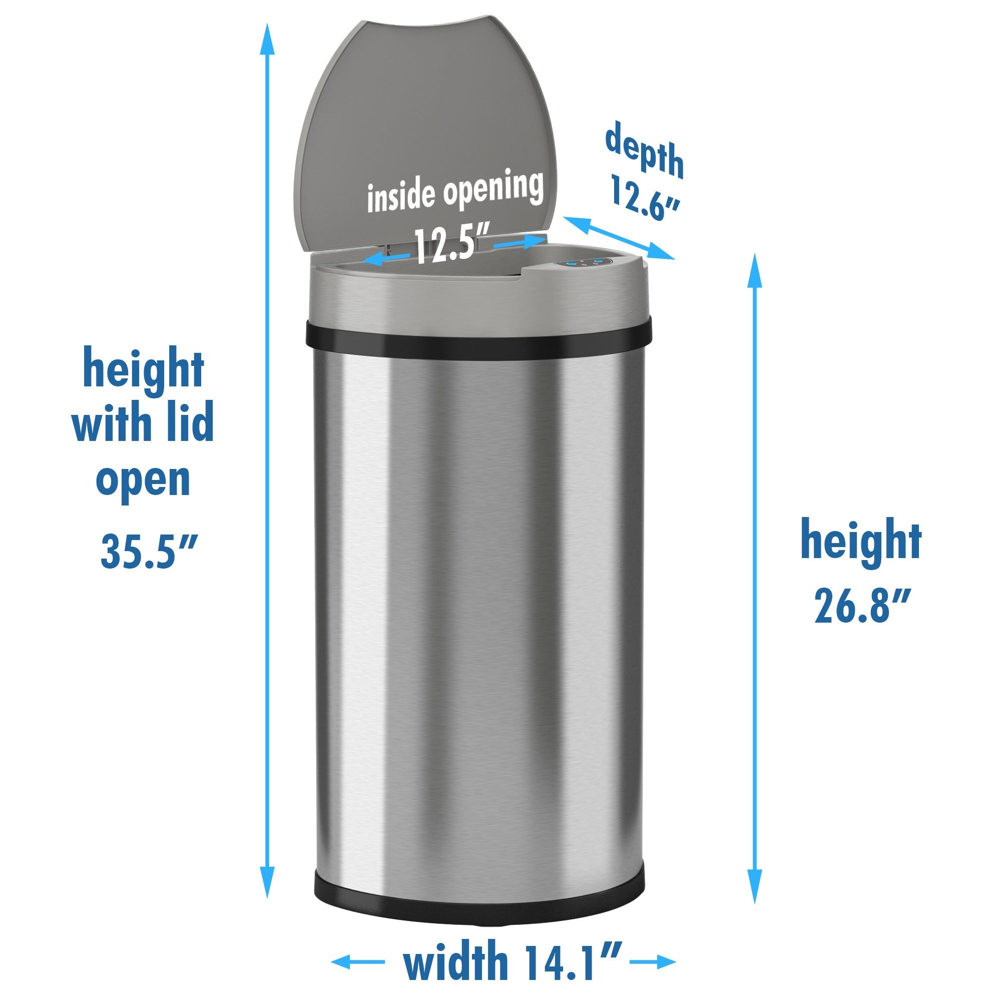 iTouchless Semi Round Space saving Wide Opening 13 gallon Trash Can