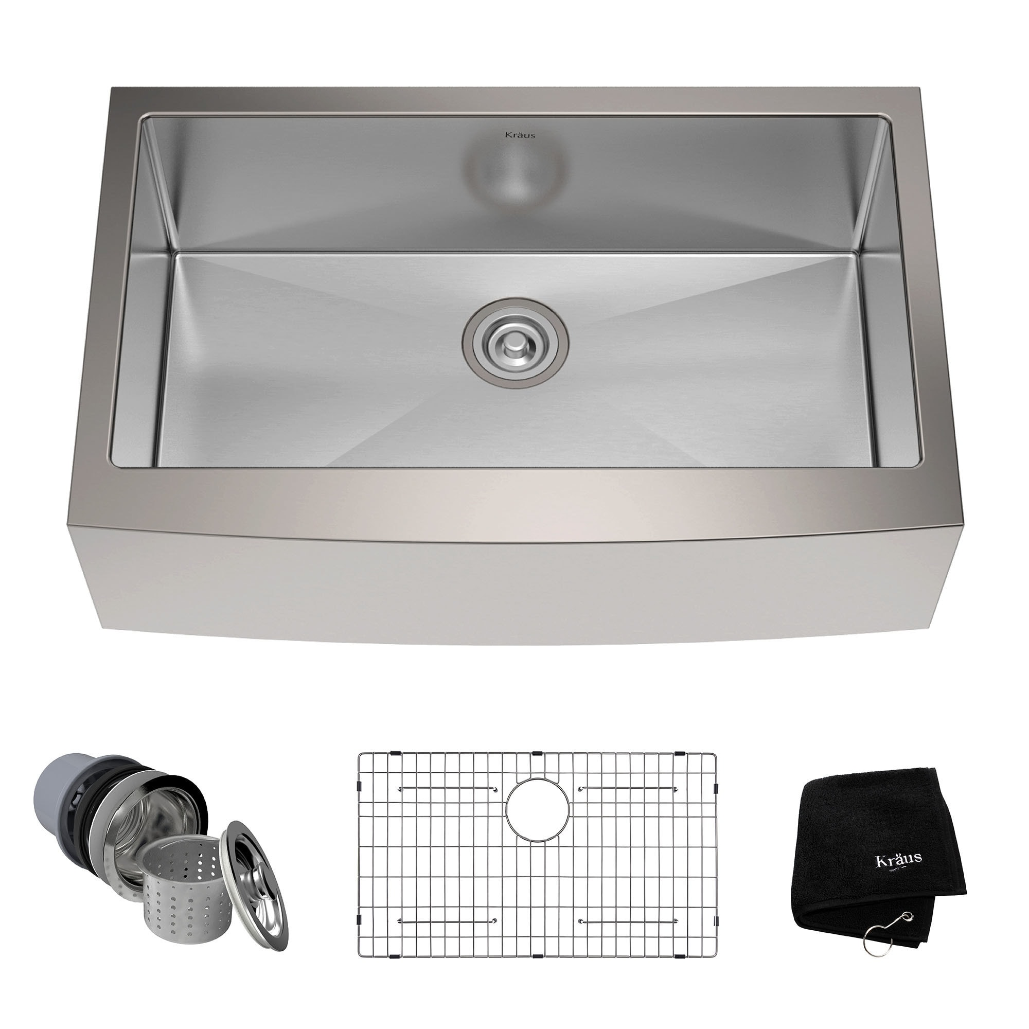 Bon KRAUS 33 Inch Farmhouse Single Bowl Stainless Steel Kitchen Sink With  NoiseDefend Soundproofing   Free Shipping Today   Overstock   12264207