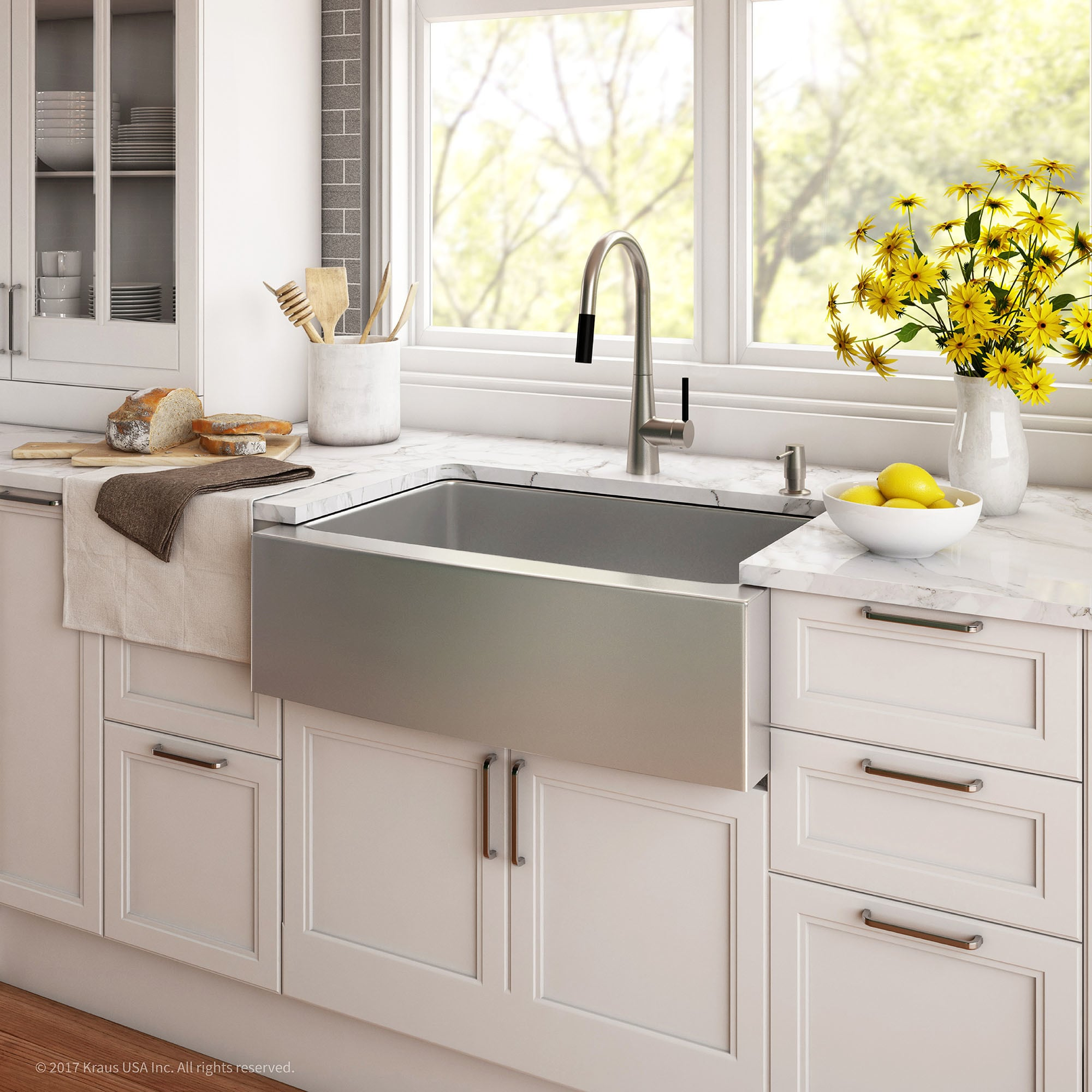Shop Kraus KHF200 33 Standart PRO Farmhouse Apron 33 Inch 16 Gauge Single  Bowl Satin Stainless Steel Kitchen Sink   Free Shipping Today    Overstock.com   ...