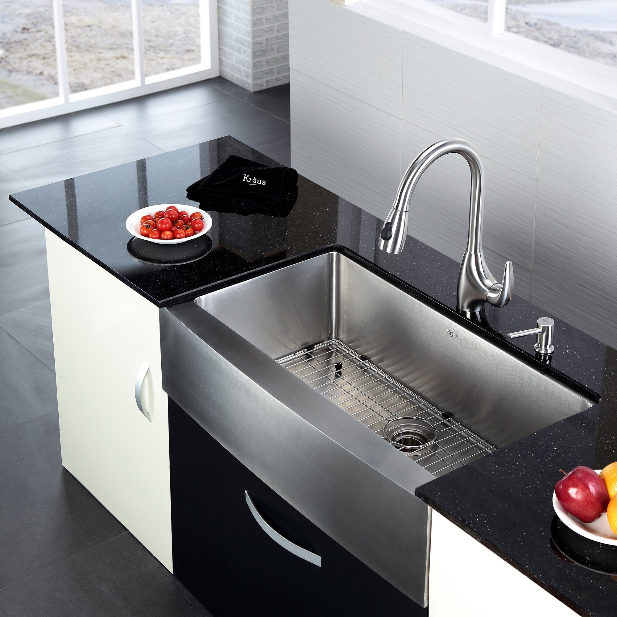 kraus 36 inch farmhouse single bowl stainless steel kitchen sink with noisedefend soundproofing   free shipping today   overstock com   12264208 kraus 36 inch farmhouse single bowl stainless steel kitchen sink      rh   overstock com