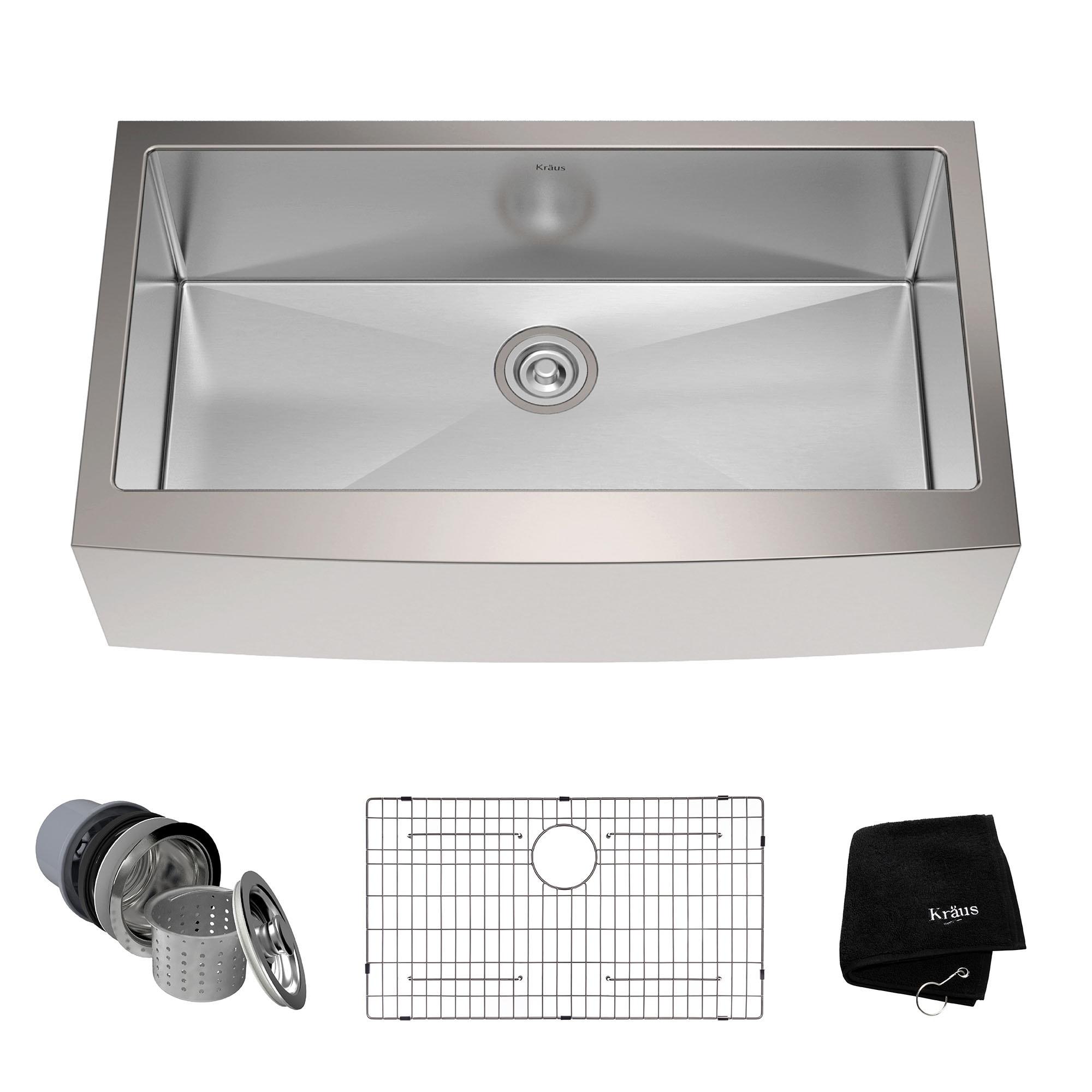 KRAUS 36 Inch Farmhouse Single Bowl Stainless Steel Kitchen Sink ...
