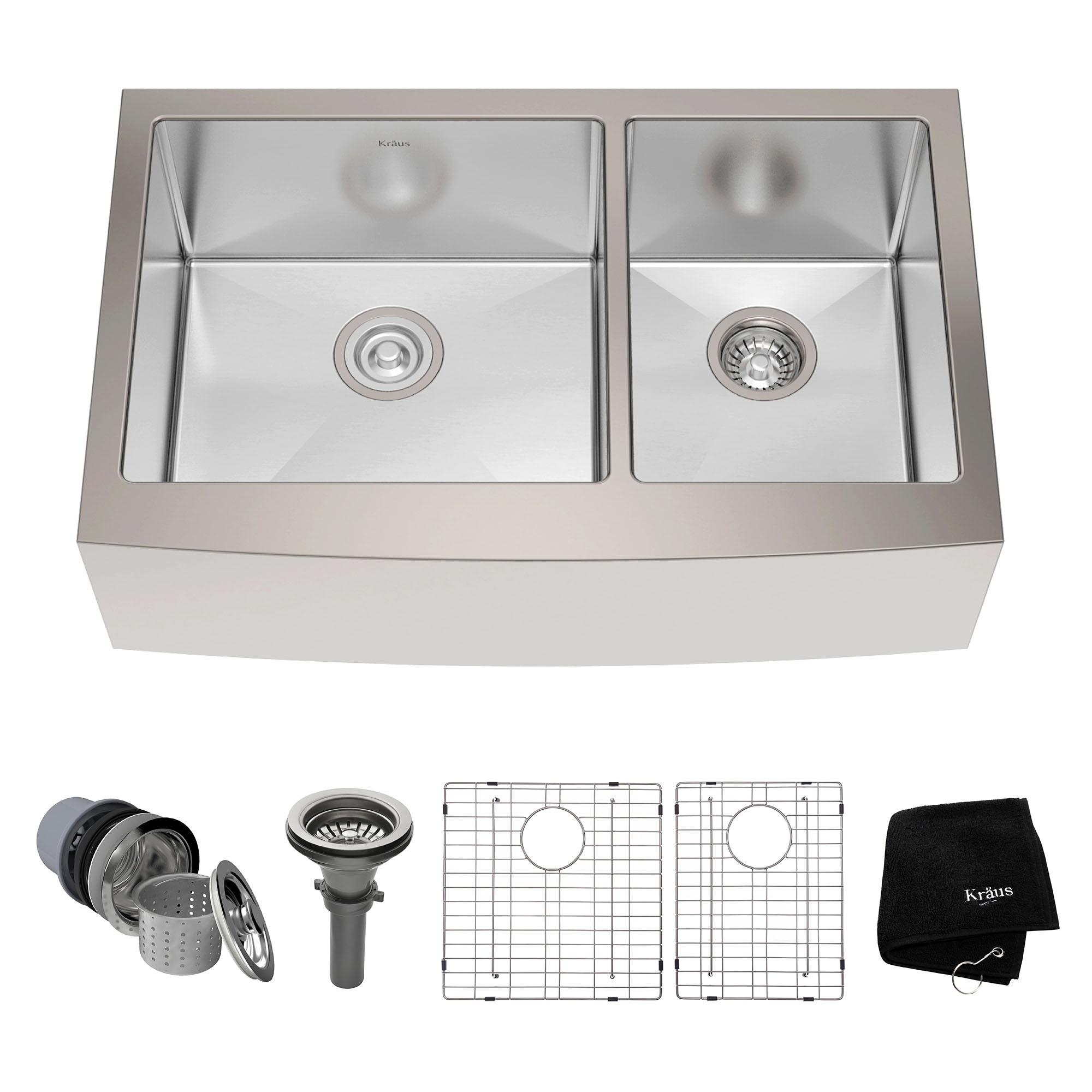 KRAUS 33 Inch Farmhouse Double Bowl Stainless Steel Kitchen Sink ...
