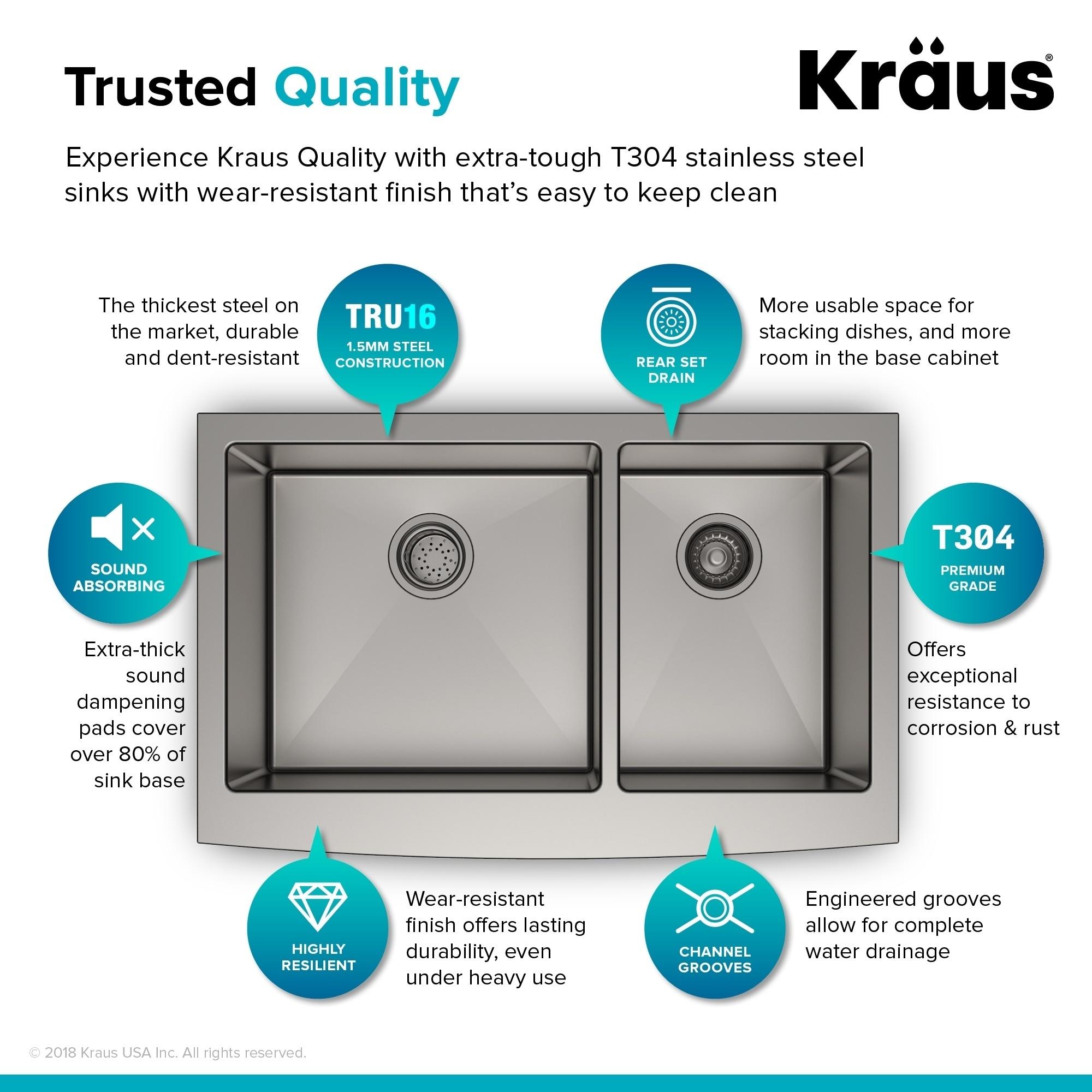 Kraus KHF203-33 Farmhouse 33 inch 2-Bowl Stainless Steel Kitchen Sink