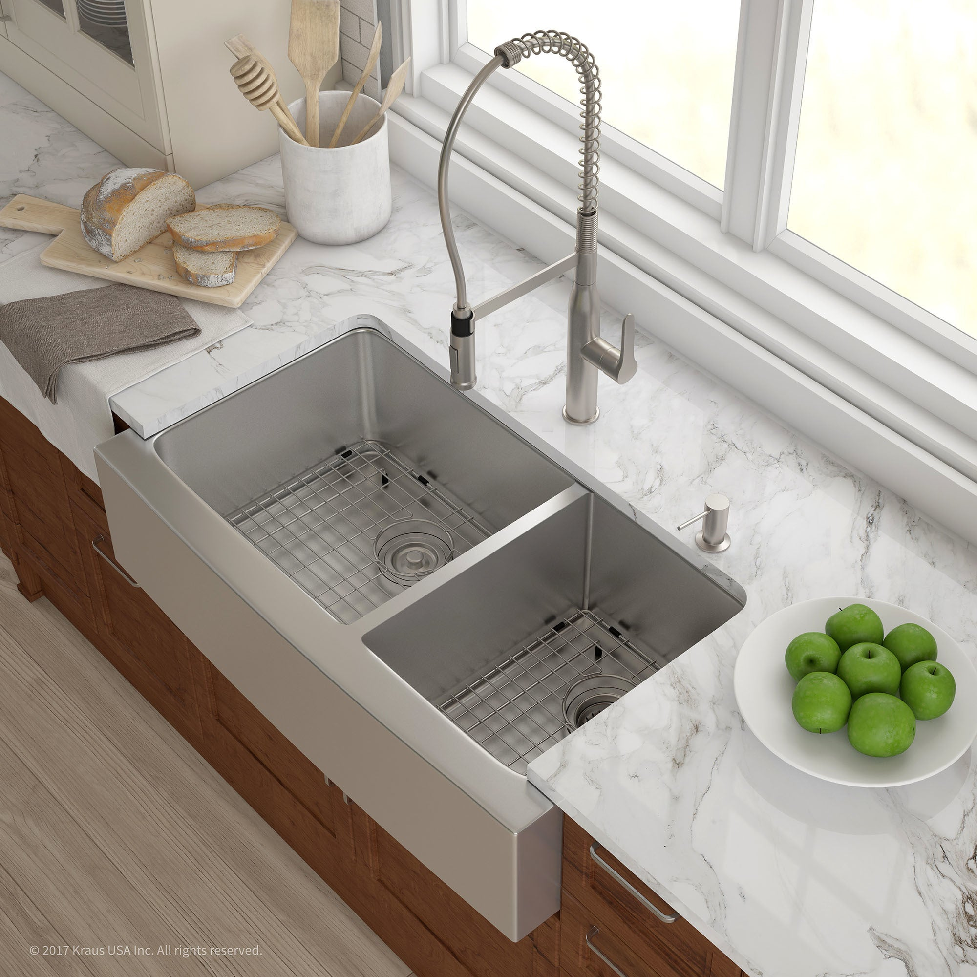 kraus 36 inch farmhouse double bowl stainless steel kitchen sink with noisedefend soundproofing   free shipping today   overstock com   12264210 kraus 36 inch farmhouse double bowl stainless steel kitchen sink      rh   overstock com