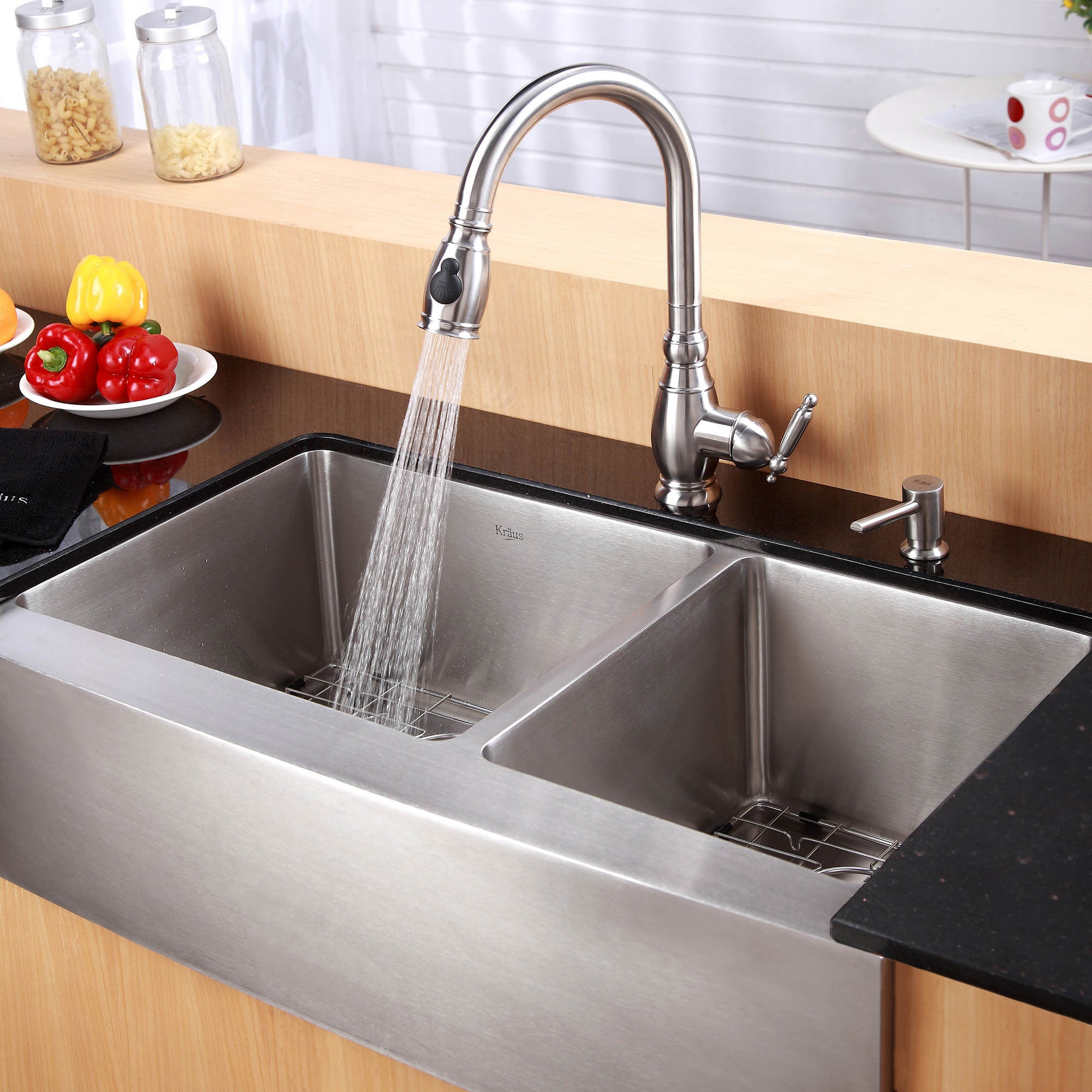 Steel Kitchen Sinks Kraus 36 inch farmhouse double bowl stainless steel kitchen sink kraus 36 inch farmhouse double bowl stainless steel kitchen sink with noisedefend soundproofing free shipping today overstock 12264210 workwithnaturefo