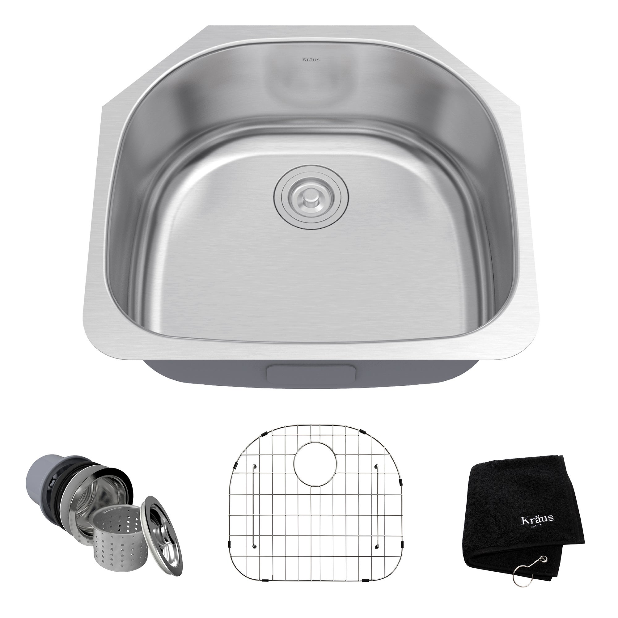 kraus 23 inch undermount single bowl stainless steel kitchen sink with noisedefend soundproofing   free shipping today   overstock com   12264211 kraus 23 inch undermount single bowl stainless steel kitchen sink      rh   overstock com