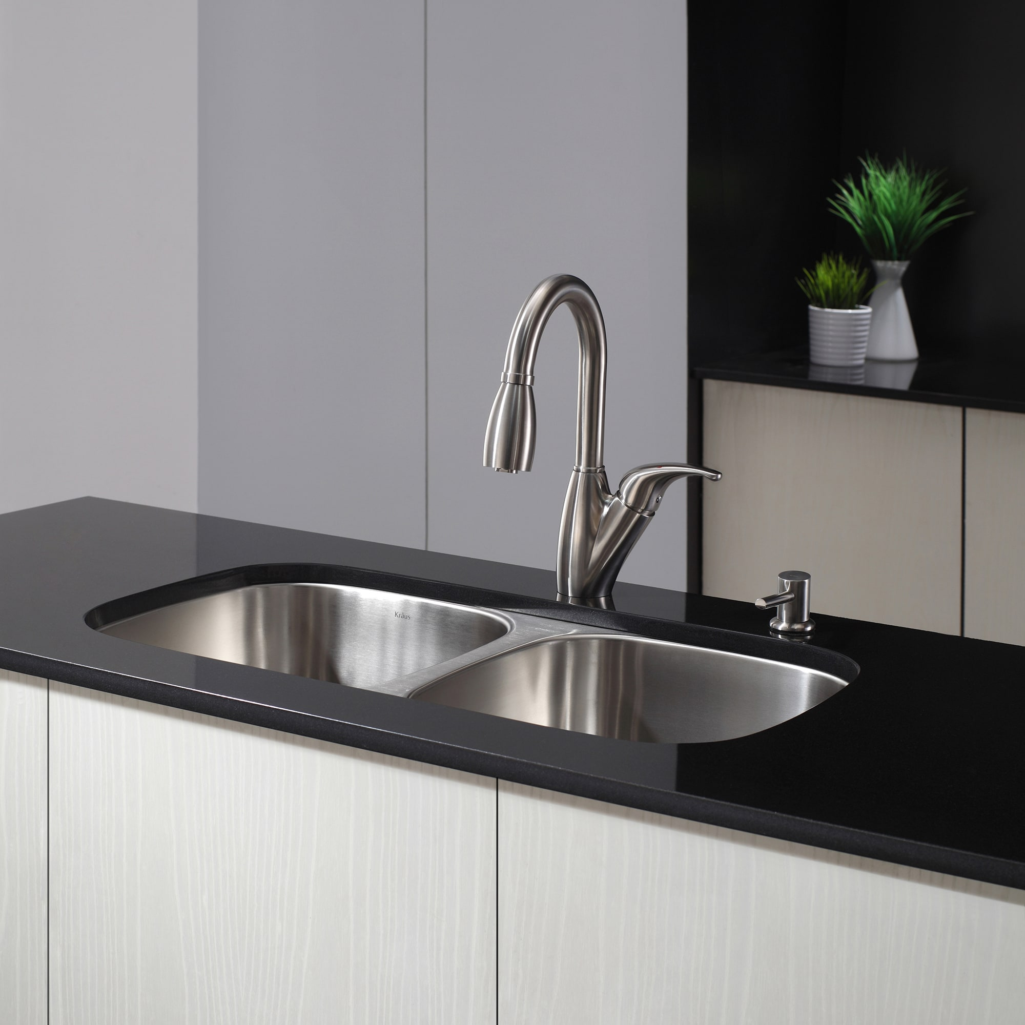 kraus 32 inch undermount 50 50 double bowl 16 gauge stainless steel kitchen sink with noisedefend soundproofing   free shipping today   overstock com       kraus 32 inch undermount 50 50 double bowl 16 gauge stainless      rh   overstock com