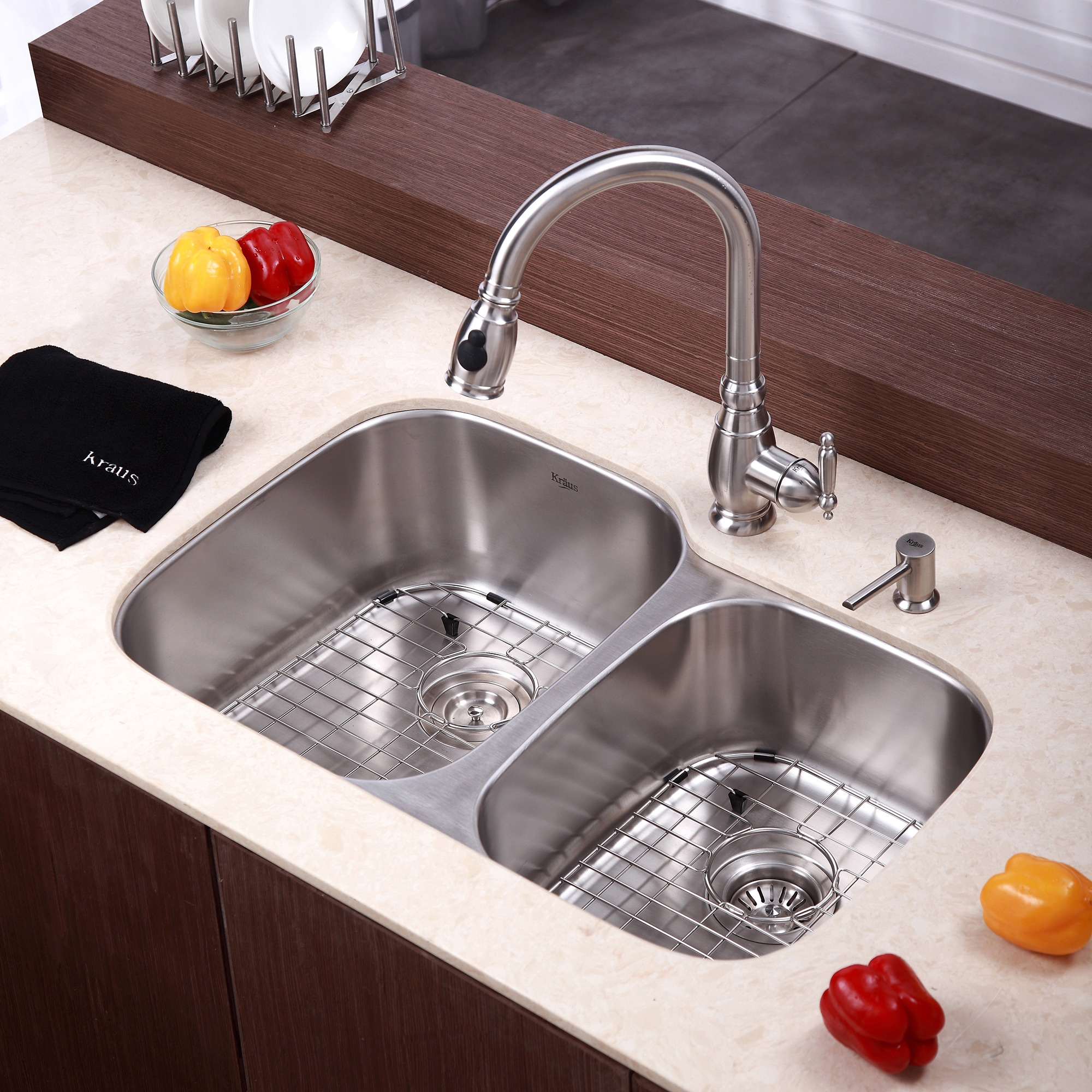 Metal Kitchen Sinks Kraus 32 inch undermount 6040 double bowl 16 gauge stainless steel kraus 32 inch undermount 6040 double bowl 16 gauge stainless steel kitchen sink with noisedefend soundproofing free shipping today overstock 12264214 workwithnaturefo