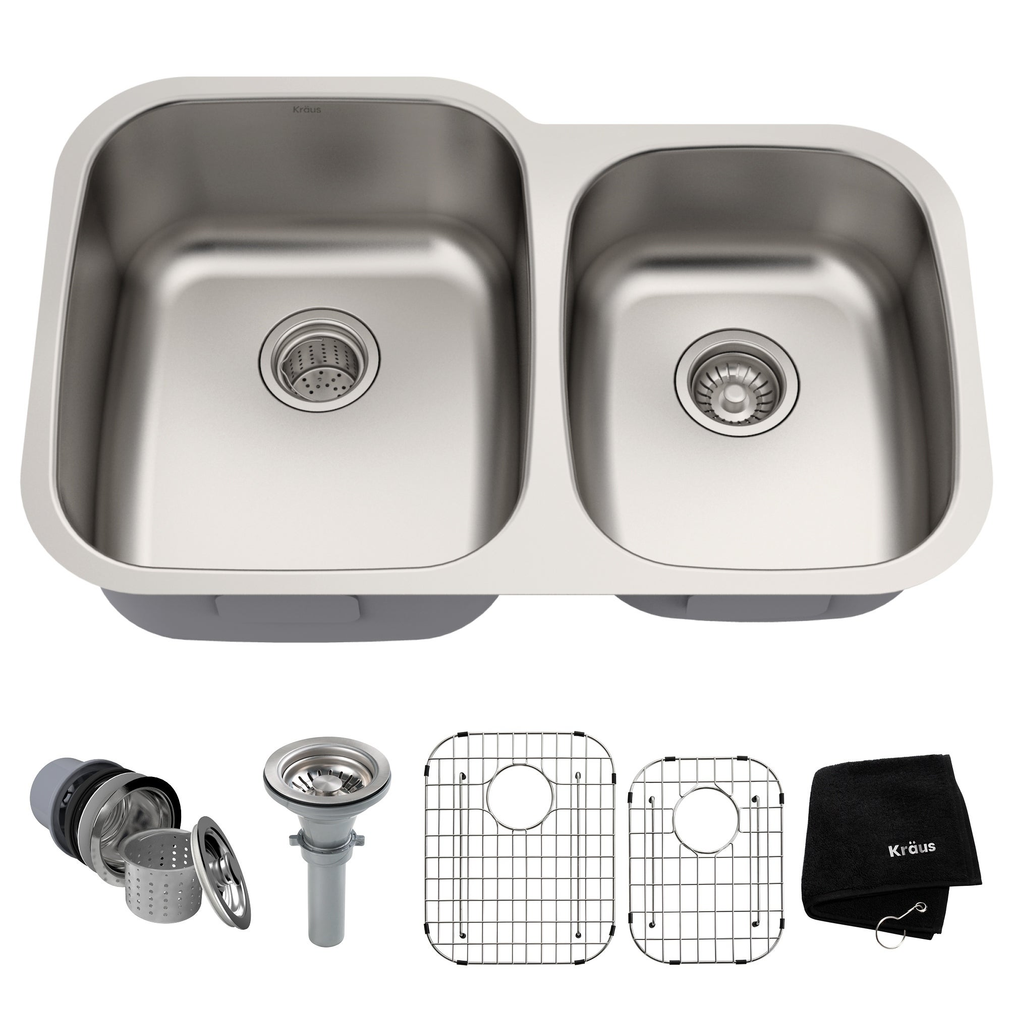 Kraus Kbu24 Premier Undermount 32 In 16g 60 40 2 Bowl Satin Stainless Steel Kitchen Sink Grids Strainers Towel On Free Shipping Today