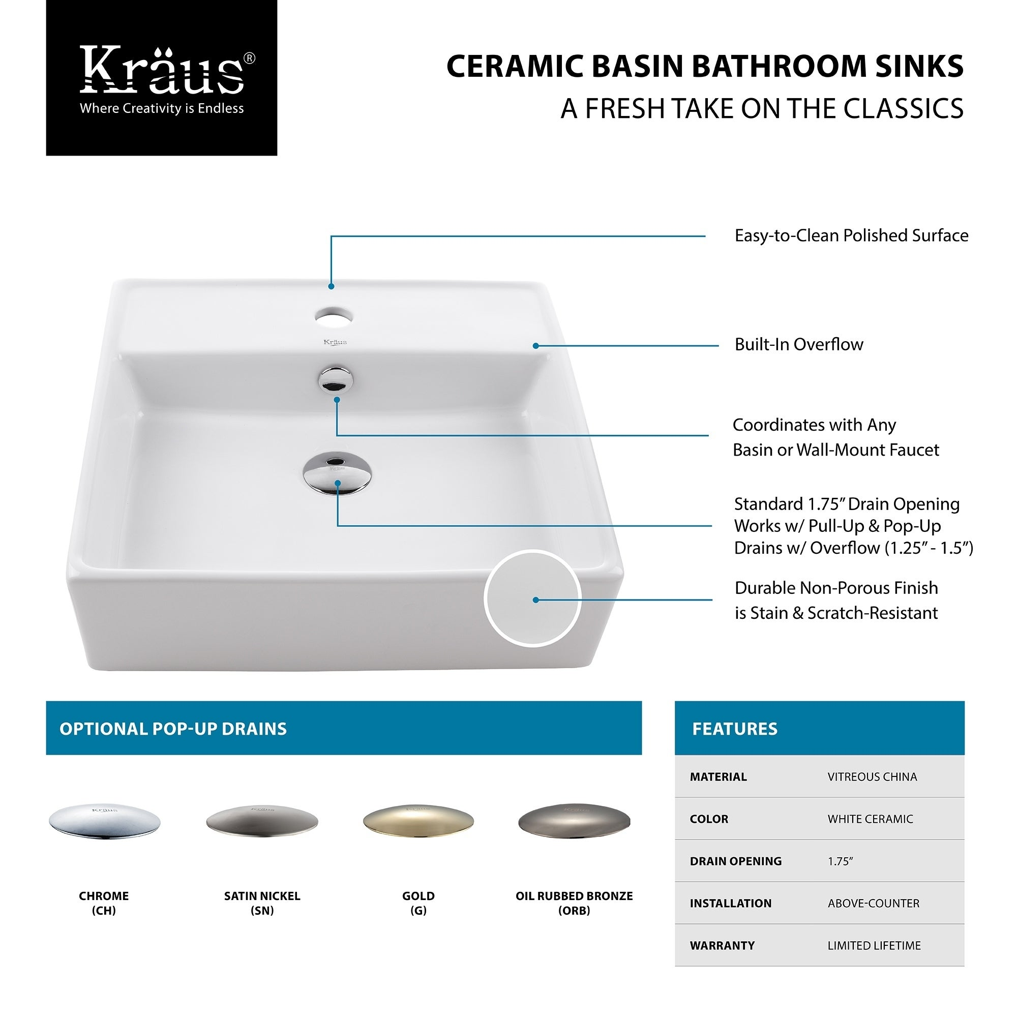 Shop Kraus Kcv 150 Elavo 18 1 2 Inch Square Vessel Porcelain Ceramic Home Images Jetted Bathtub Diagram Facebook Vitreous Bathroom Sink In White Overflow Drain Optional Free Shipping Today