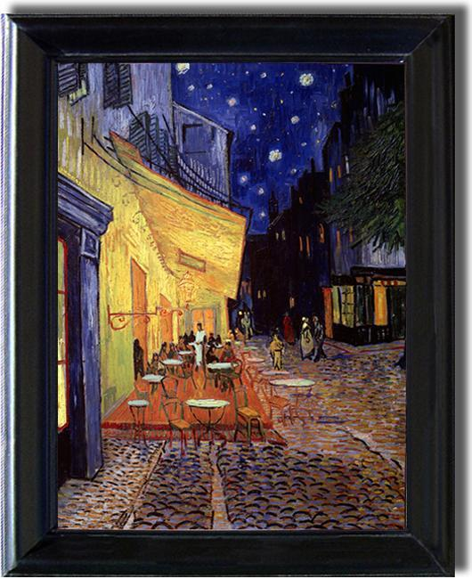 Brand-new Vincent Van Gogh 'Cafe Terrace at Night' Classic Framed Canvas Art  DD66