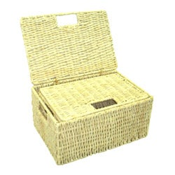 Marvelous Woven Grass Rectangular Lidded Storage Baskets (Set Of 2)   Free Shipping  On Orders Over $45   Overstock   12280097