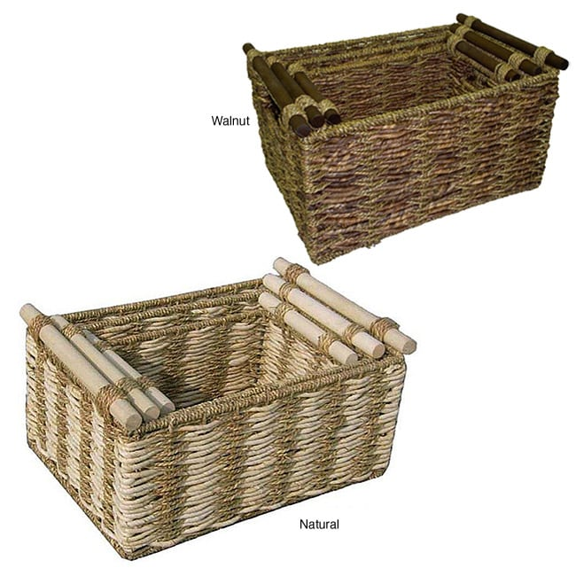 Shop Two Tone Maize And Seagrass Storage Baskets (Set Of 3)   On Sale    Free Shipping On Orders Over $45   Overstock.com   4302096