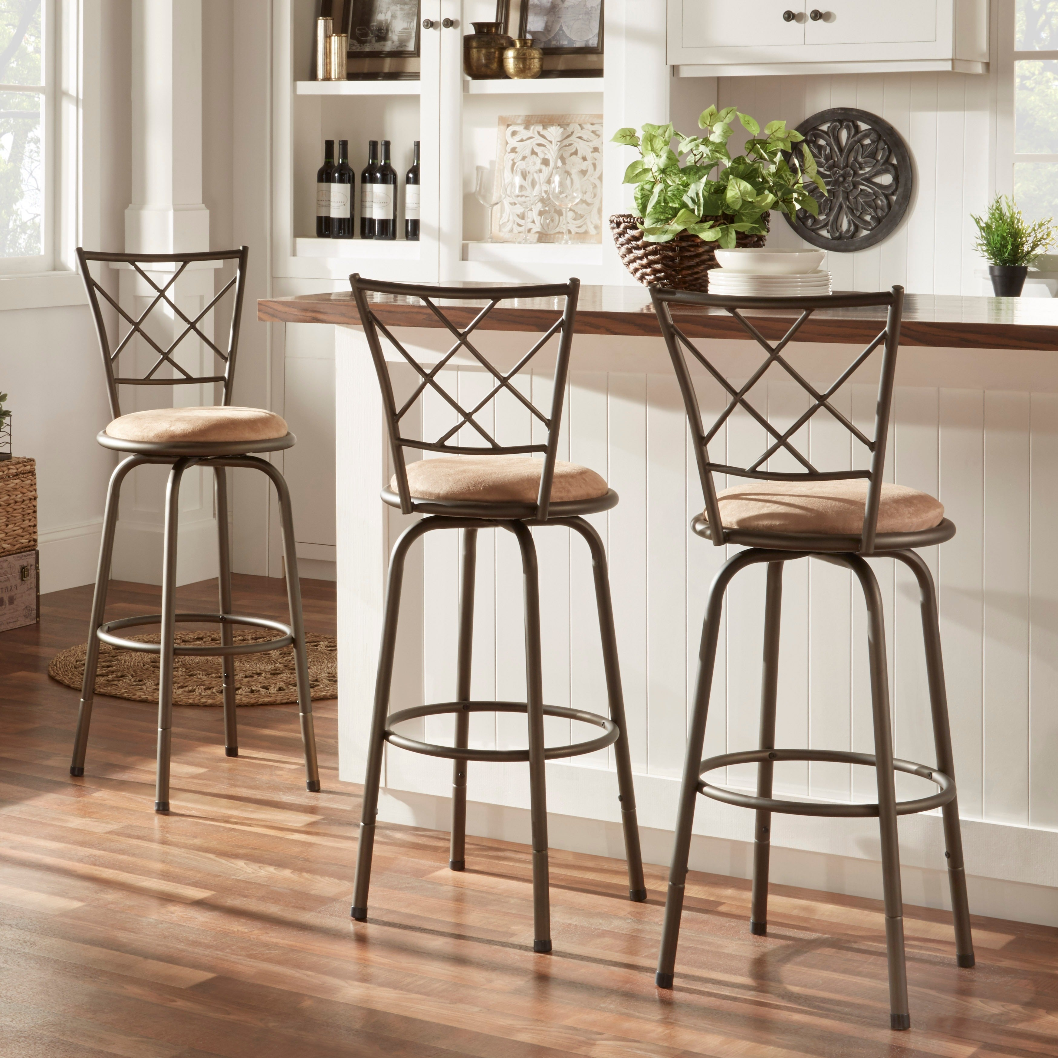 Shop avalon quarter cross adjustable swivel high back kitchen stools set of 3 by inspire q classic on sale free shipping today overstock com