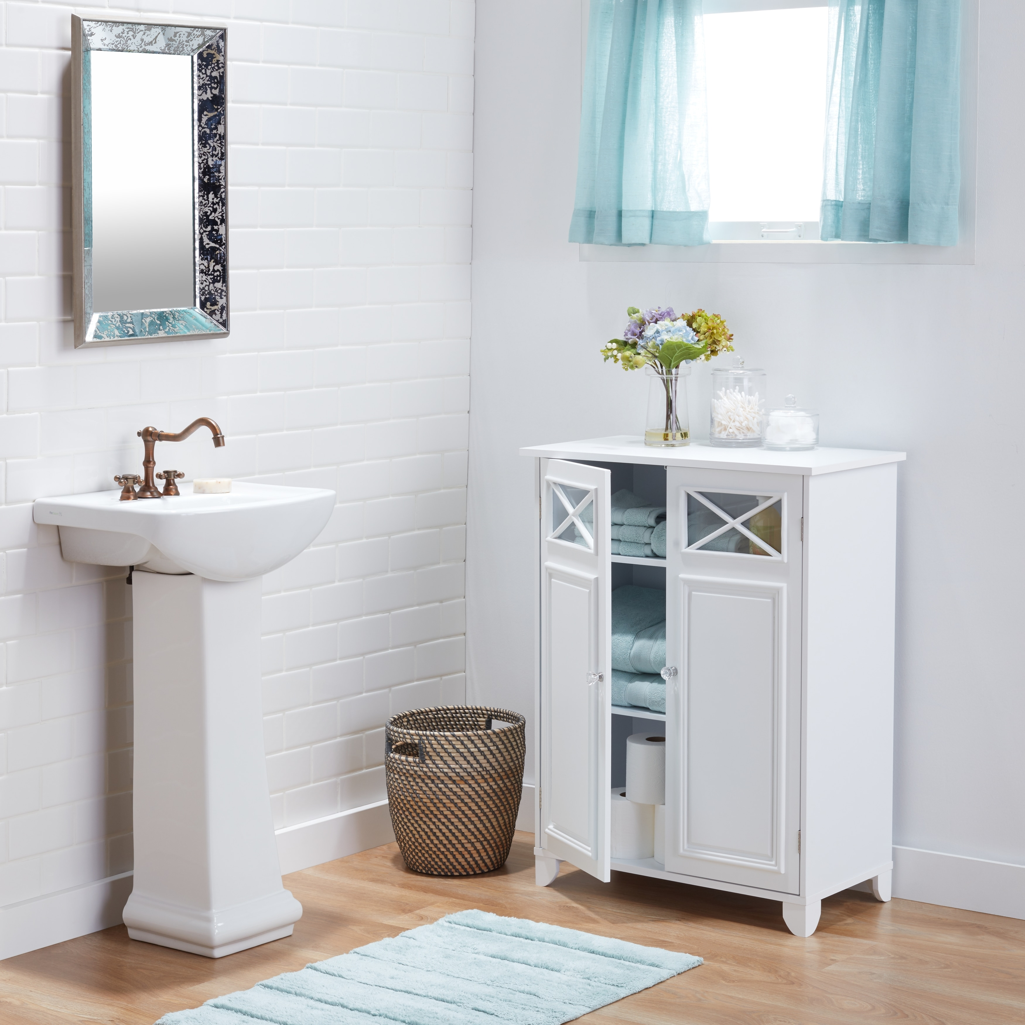Essential Home Furnishings White Wood and Glass Bathroom Linen ...