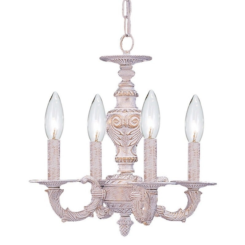 Shop Crystorama Sutton 4-light Antique White Mini Chandelier - On Sale -  Free Shipping Today - Overstock.com - 4325607 - Shop Crystorama Sutton 4-light Antique White Mini Chandelier - On