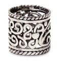 Floral Rapture Handmade Wide Vintage Style Cultural Clothing Accessory Floral Sterling Silver Filigree Jewelry Ring (Indonesia)