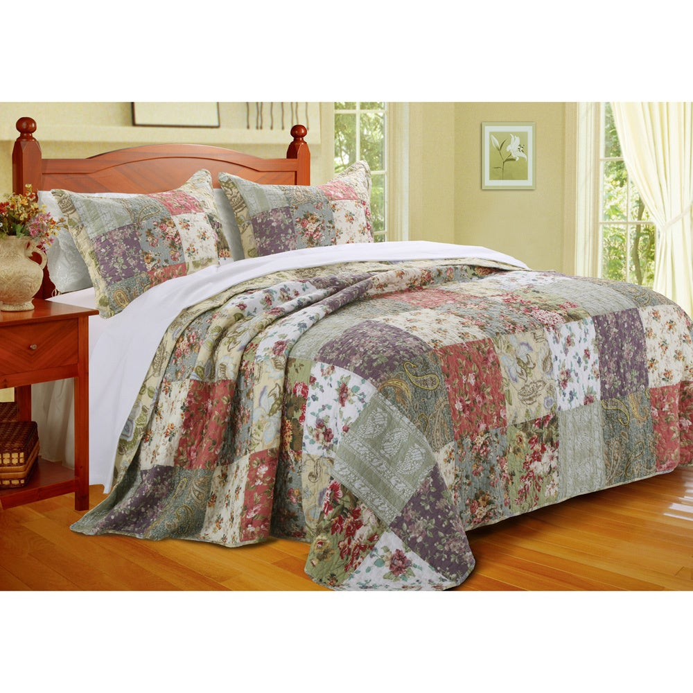 greenland home fashions blooming prairie 3 piece bedspread set