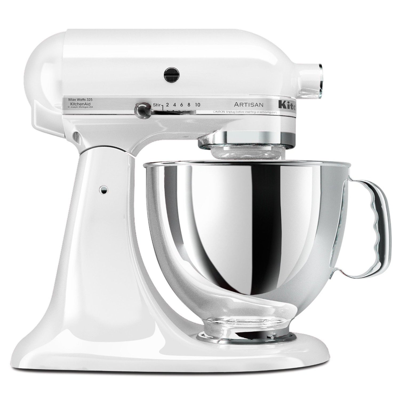 KitchenAid KSM150PSWH White 5-quart Artisan Tilt-Head Stand Mixer ...
