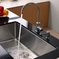 KRAUS 32 Inch Undermount Single Bowl Stainless Steel Kitchen Sink with Kitchen Bar Faucet and Soap Dispenser