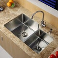 KRAUS 32 Inch Undermount Double Bowl Stainless Steel Kitchen Sink with Kitchen Bar Faucet and Soap Dispenser in Stainless Steel