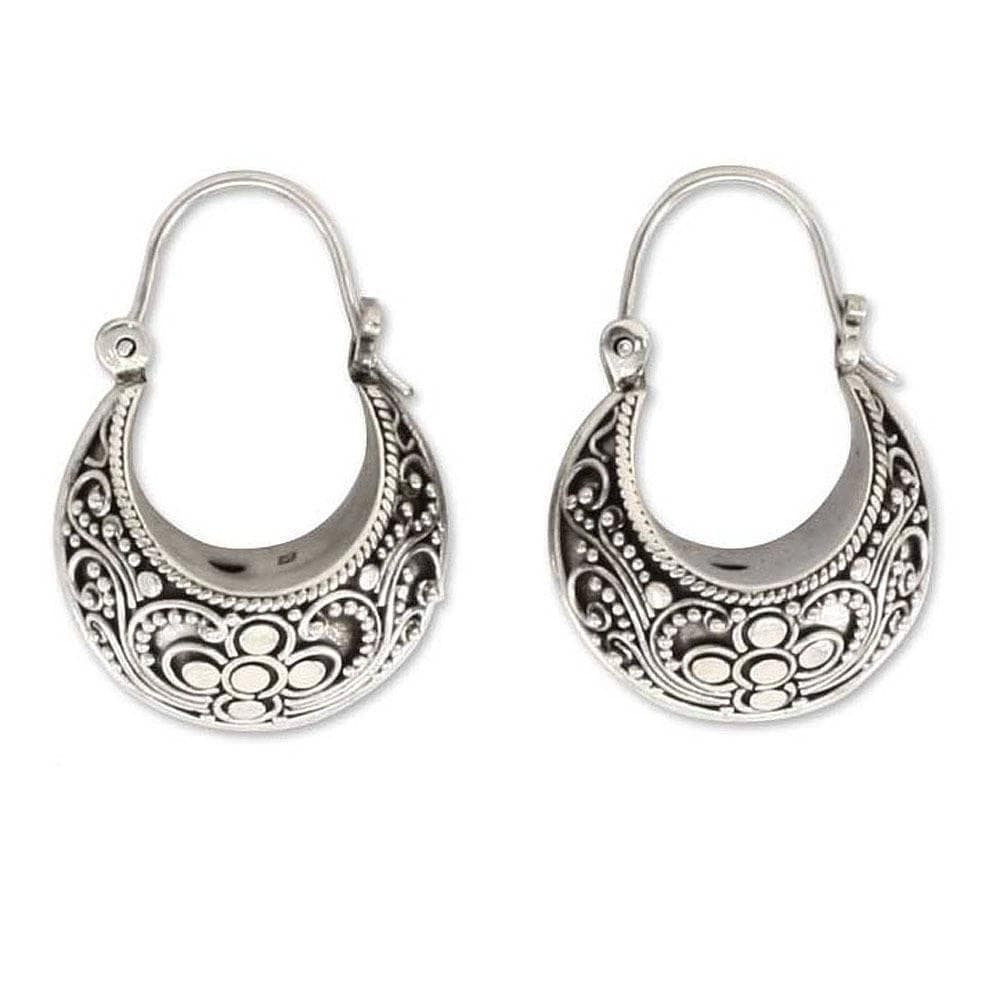 Handmade Sterling Silver Paradise Hoop Earrings Indonesia On Free Shipping Today 4428317