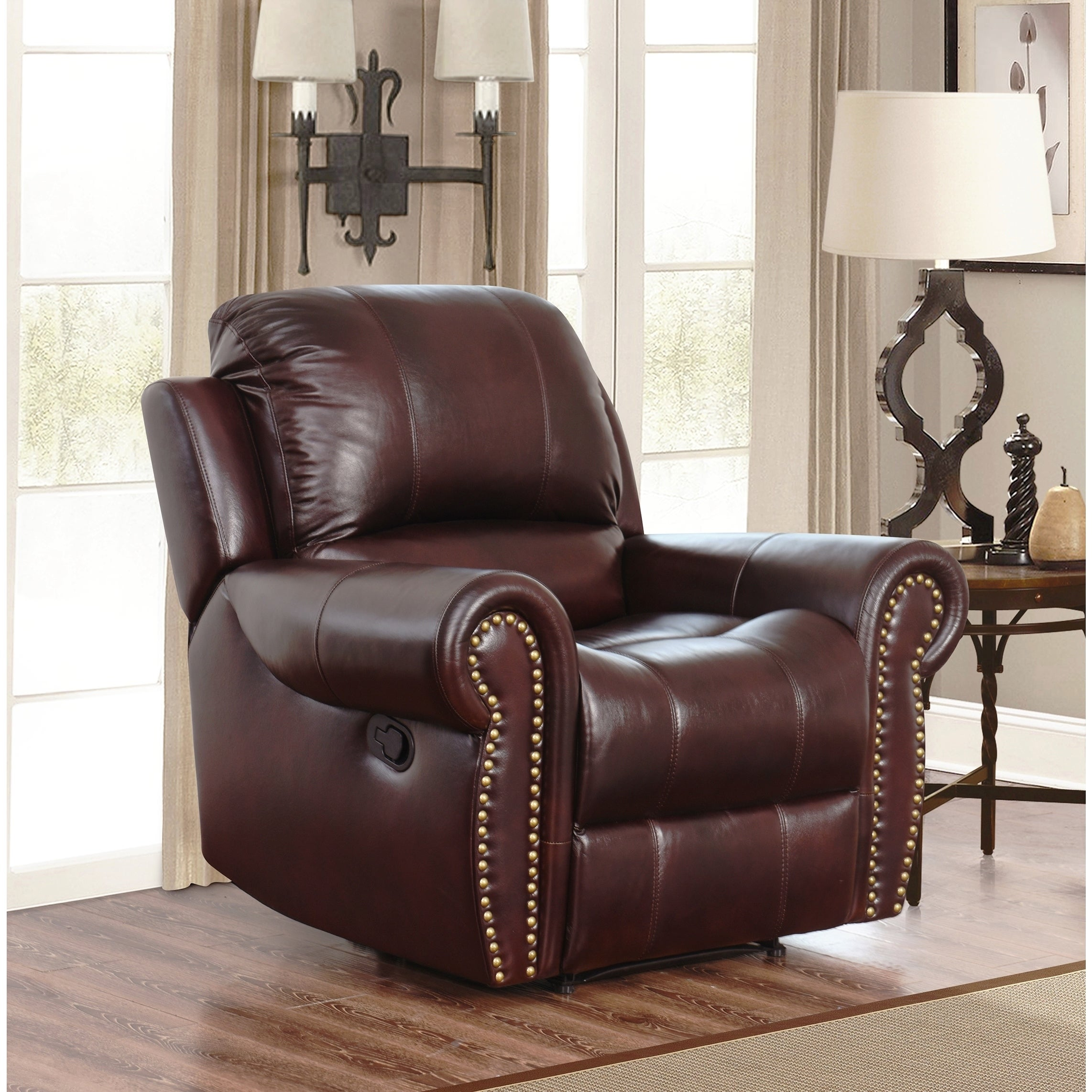 Abbyson Broadway Top Grain Leather Reclining 3 Piece Living Room