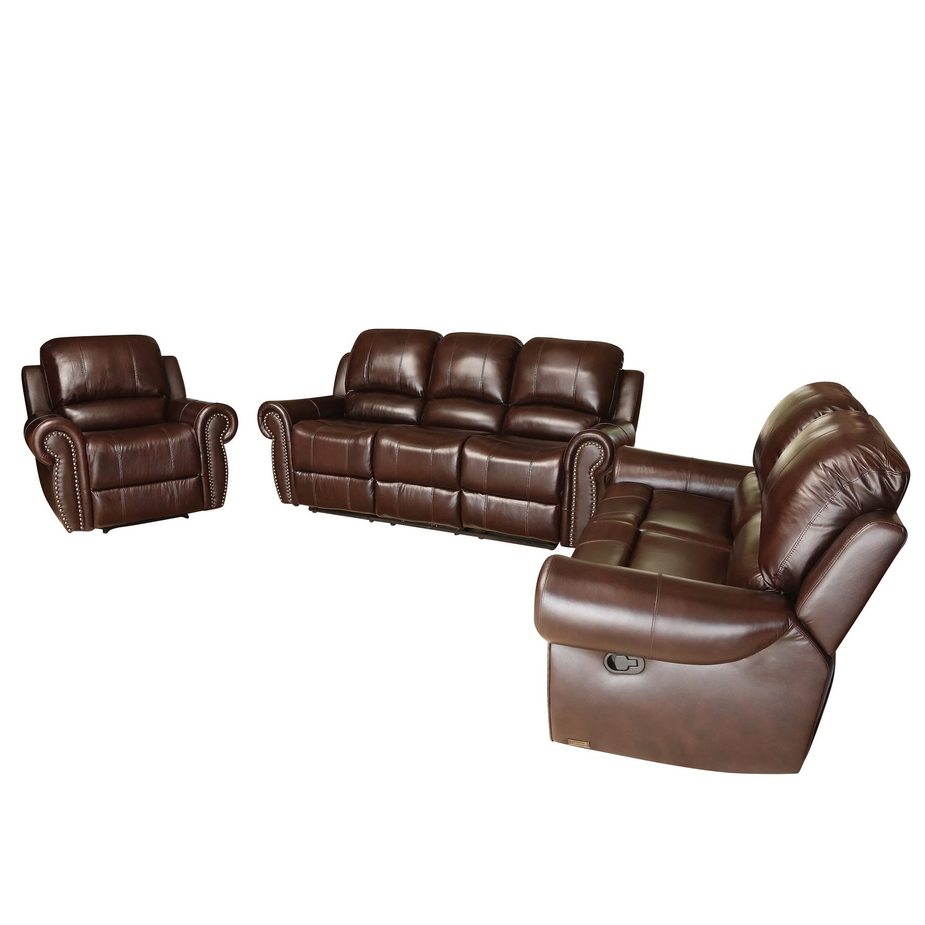 3 piece living room furniture set black gold shop abbyson broadway top grain leather reclining piece living room set on sale free shipping today overstockcom 4493692