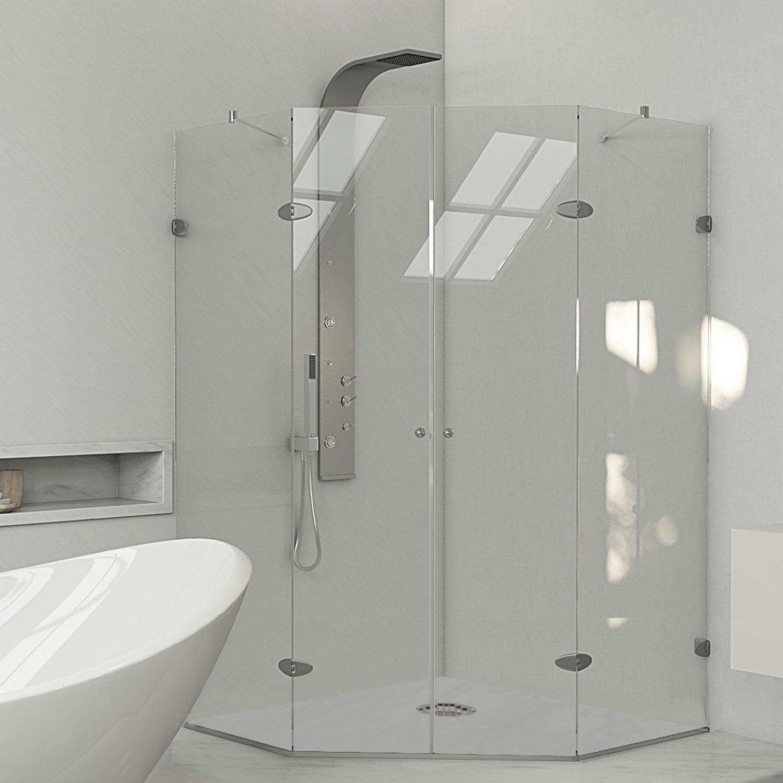 Shop VIGO Neo-angle Frameless Tempered Glass Shower Enclosure - Free ...