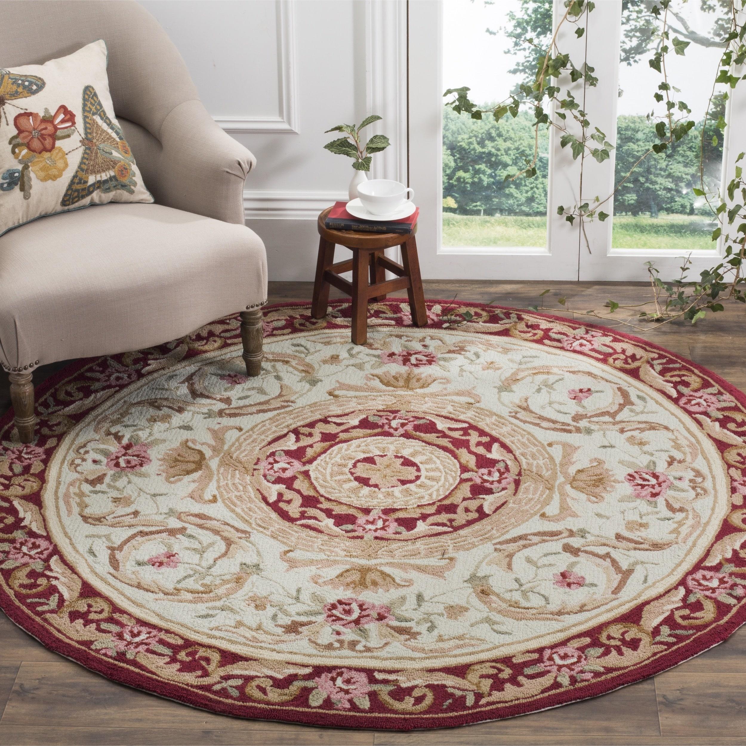 Safavieh hand hooked easy care aubusson ivory burgundy rug 8 round 8 x 8 round