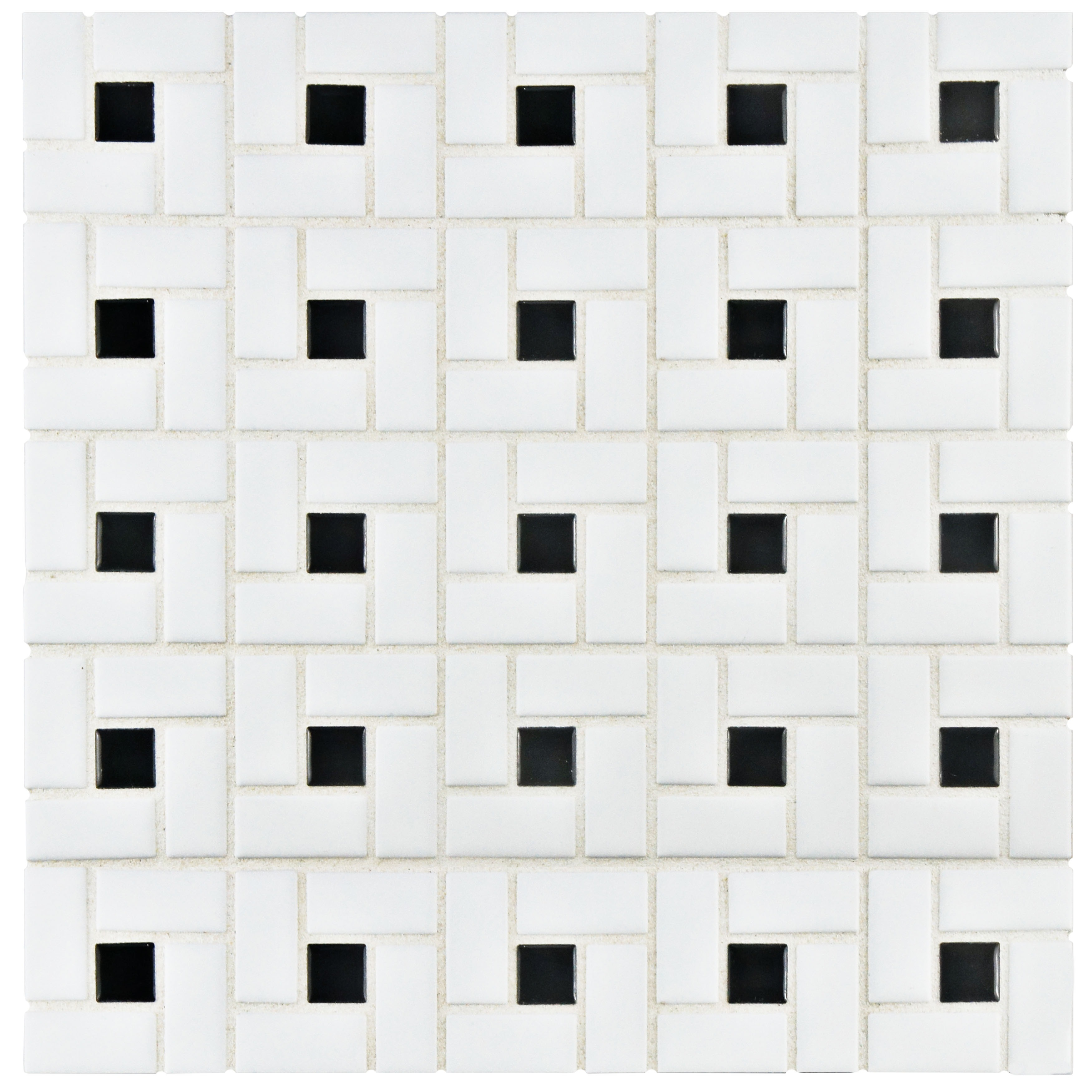 Somertile White Black Porcelain 12 5 Inch X Spiral Mosaic Tile Set Of 10 Free Shipping Today 4509756