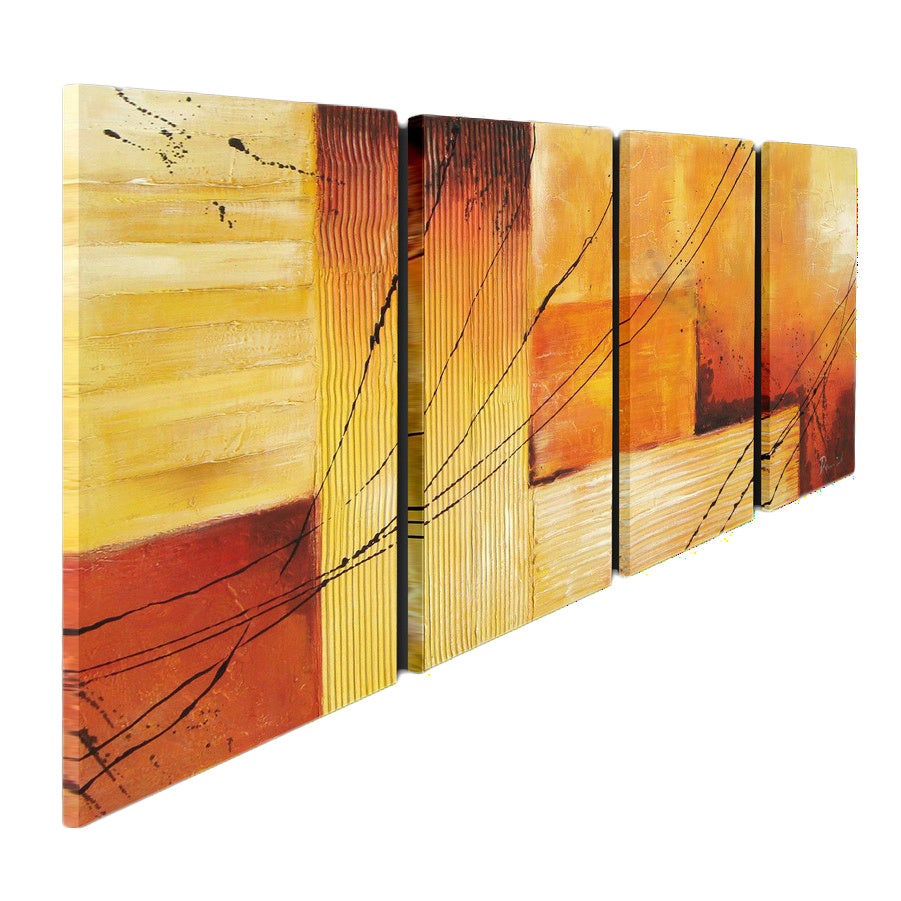 Shop \'Sunset\' Hand-painted Oil on Canvas 4-piece Art Set - Free ...