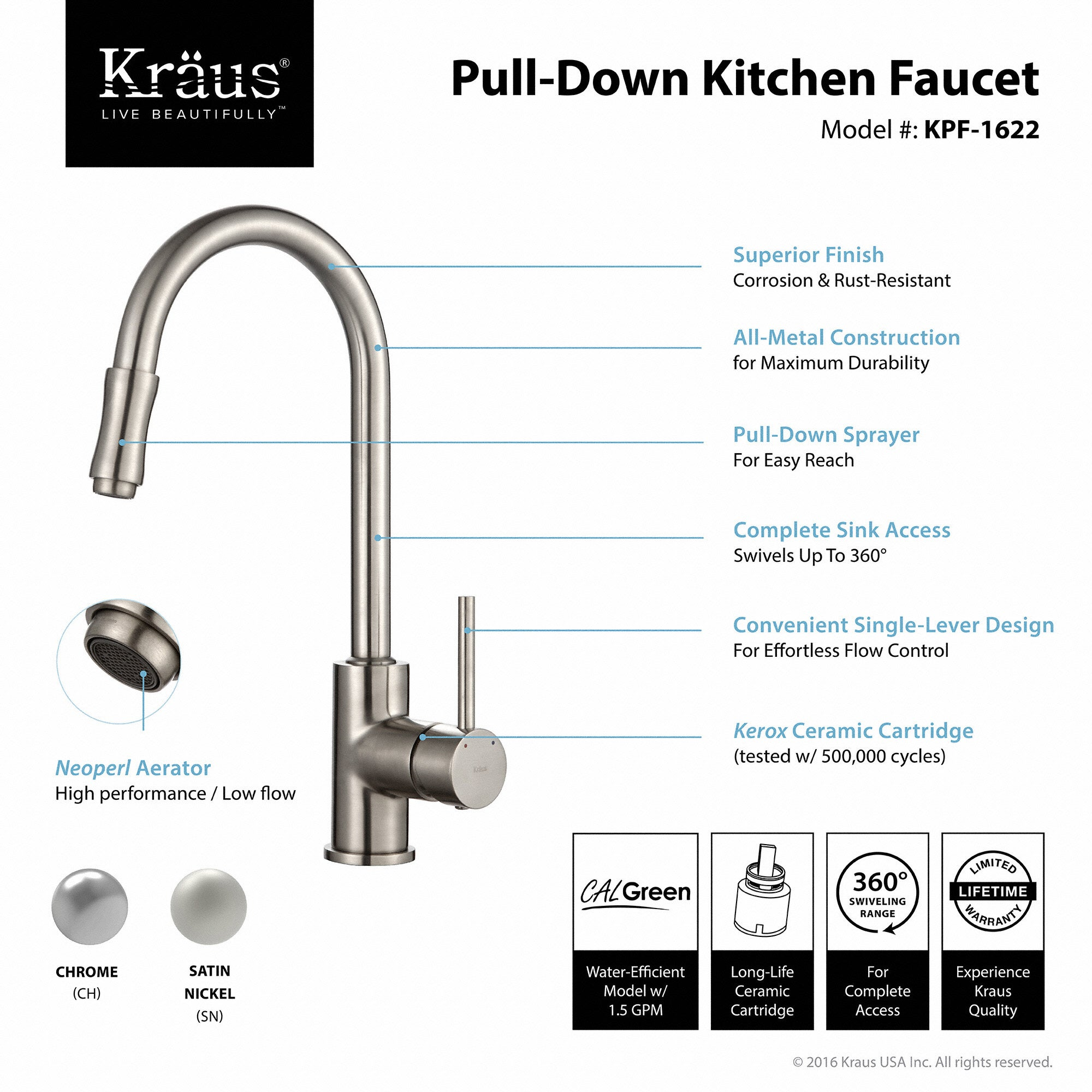 KRAUS Single Handle Kitchen Faucet with Pull Down Dual Function