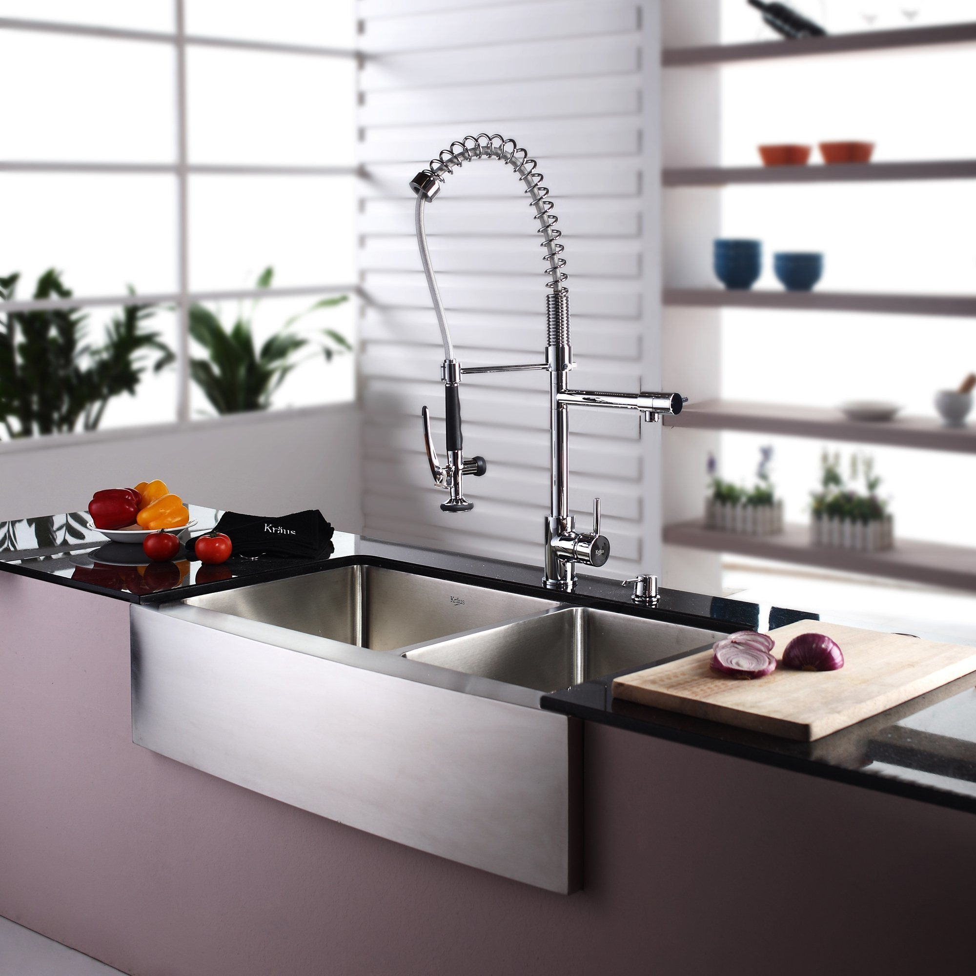 Shop Kraus KPF 1602 Commercial Style 1 Handle 2 Function Pre Rinse  Sprayhead Pull Down Kitchen Faucet And Soap Dispenser   On Sale   Free  Shipping Today ...