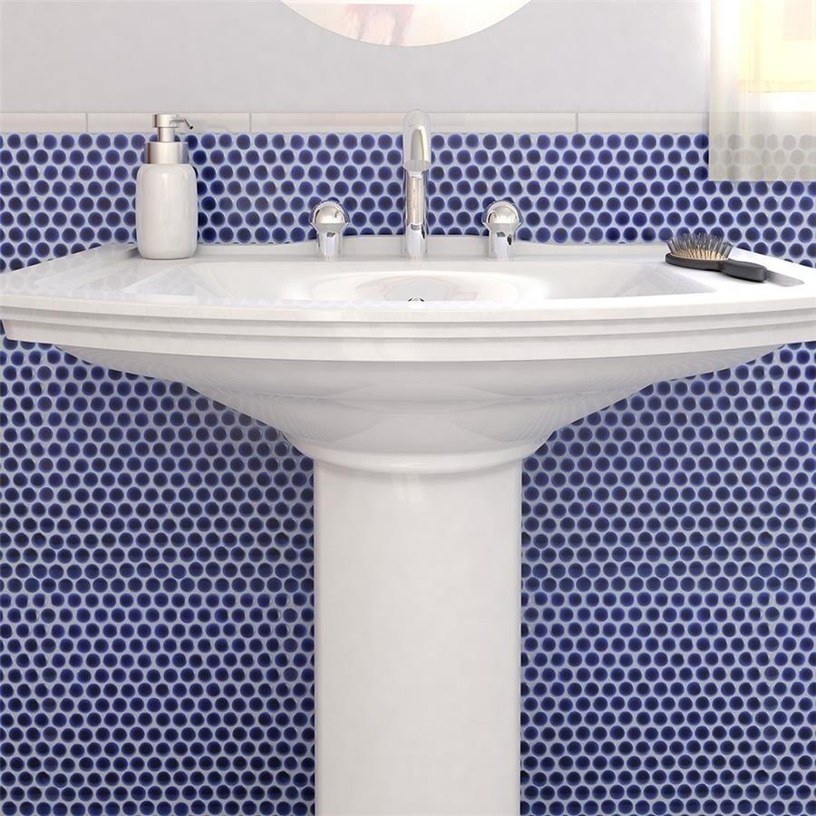 Shop SomerTile 12x12.625-inch Penny Cobalt Blue Porcelain Mosaic ...