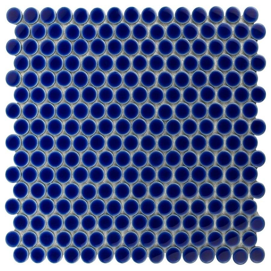 SomerTile 12x12.625-inch Penny Cobalt Blue Porcelain Mosaic Floor ...